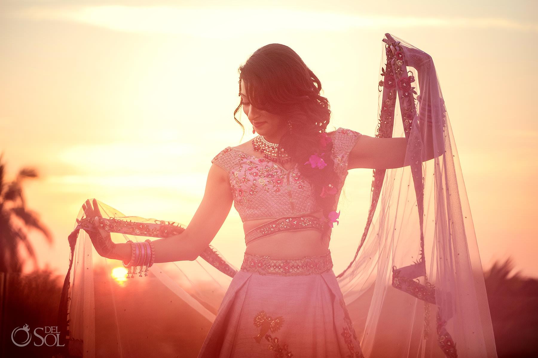 Indian destination wedding bride portrait pink lehenga Sangeet Dreams Tulum