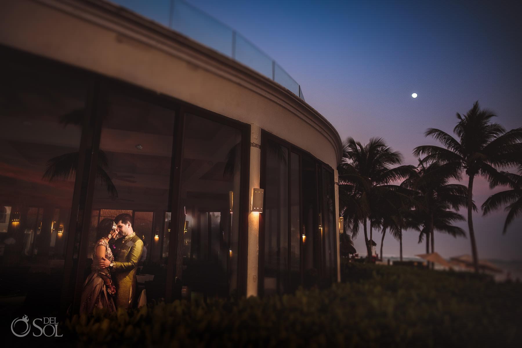 Dreams Tulum multi-cultural wedding sunset portrait