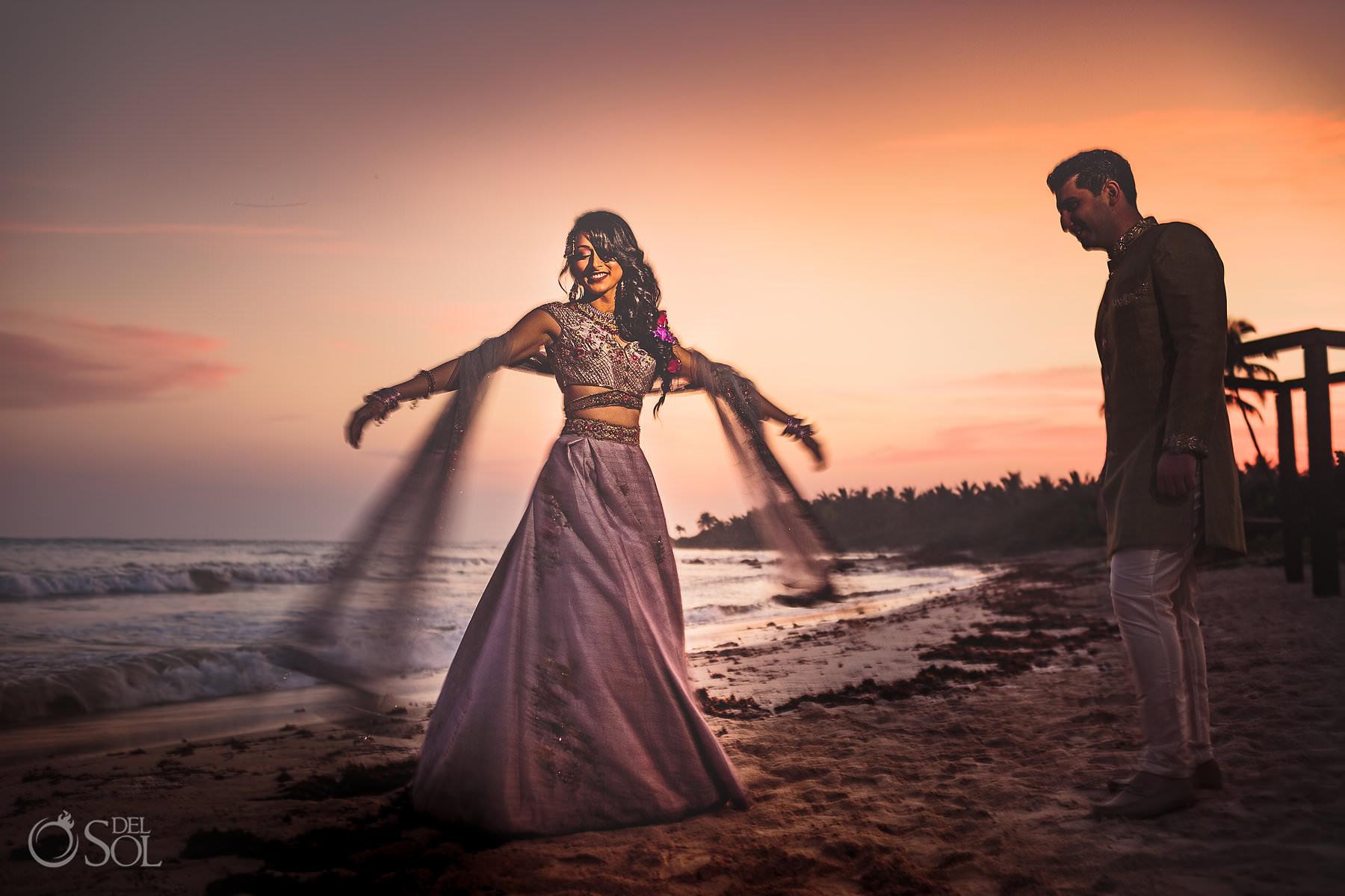 South Asian wedding portrait Dreams Tulum beach pink lehenga