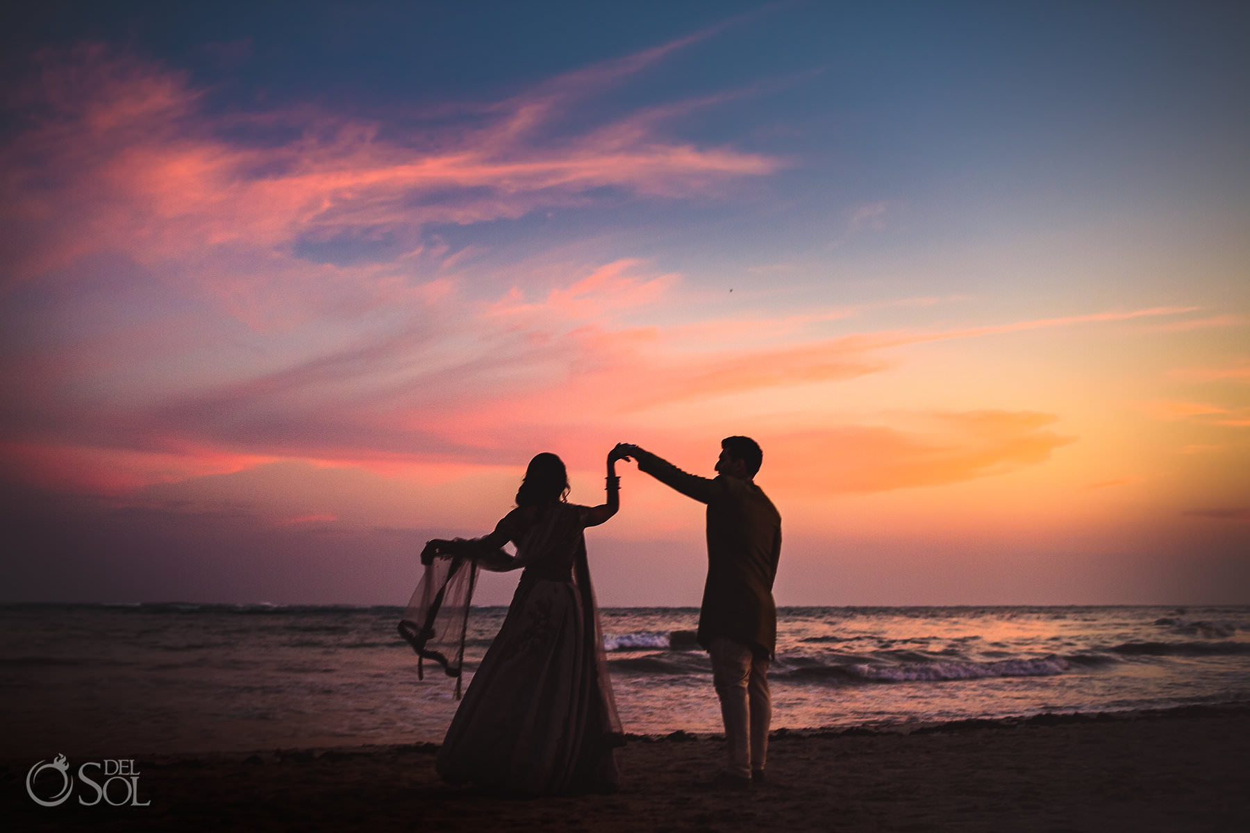 Indian wedding planner mexico sunset portrait session silhouette Dreams Tulum