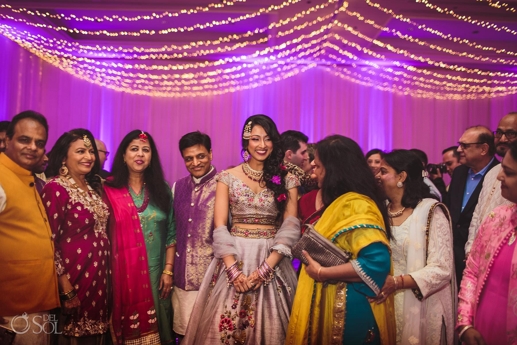 Indian bride Sangeet Dreams Tulum Riviera maya colored saris