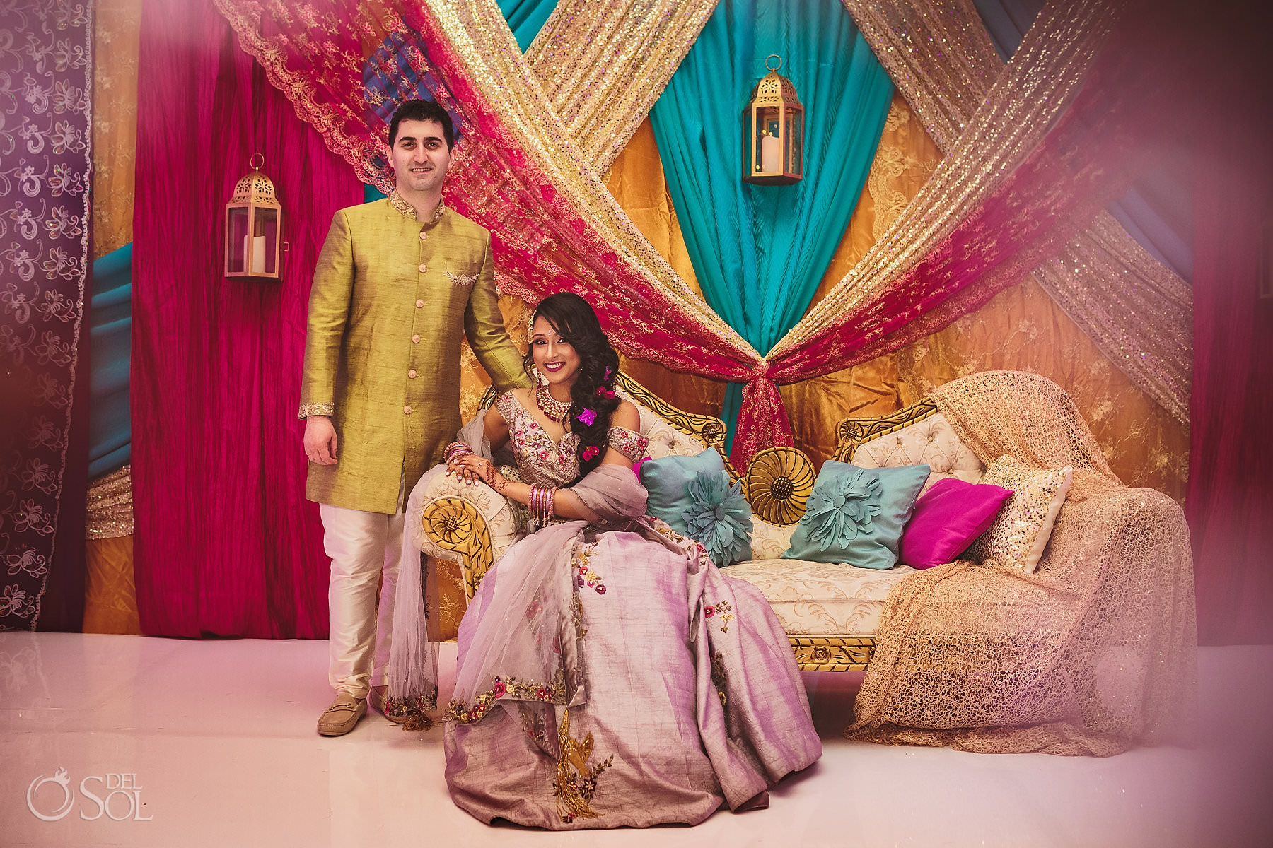 Dreams Tulum Sangeet Mehndi stage area colored draping wedding couple Dulha Dulhan Package