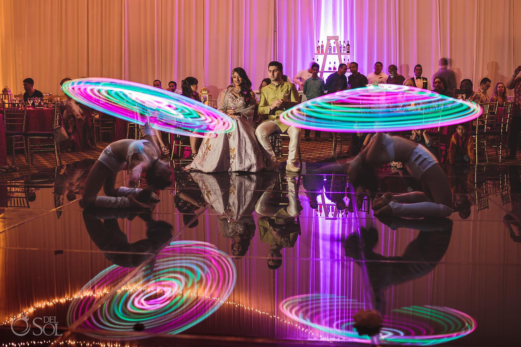 Dreams Tulum South Asian Weddings Sangeet entertainment LED dancers