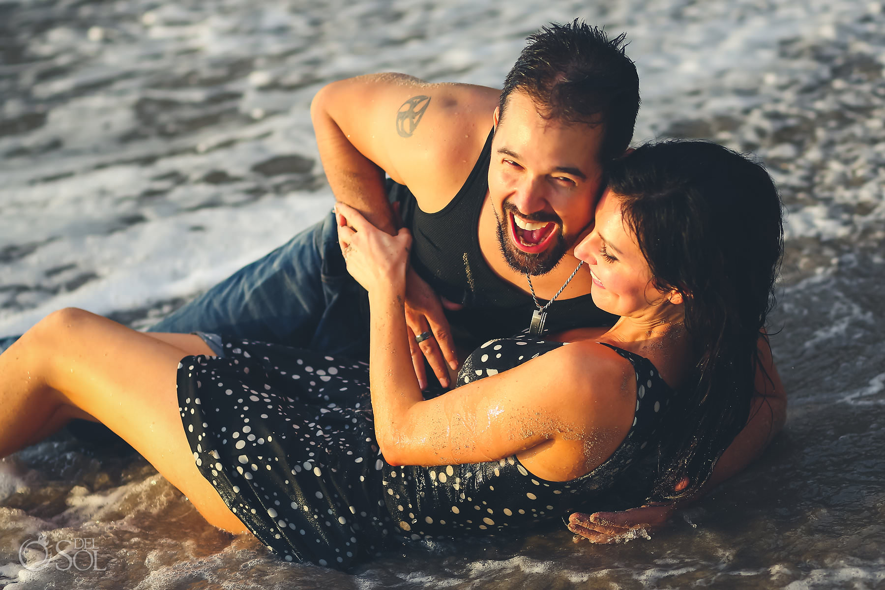 beach portrait session Hyatt Ziva Puerto Vallarta couple in the waves