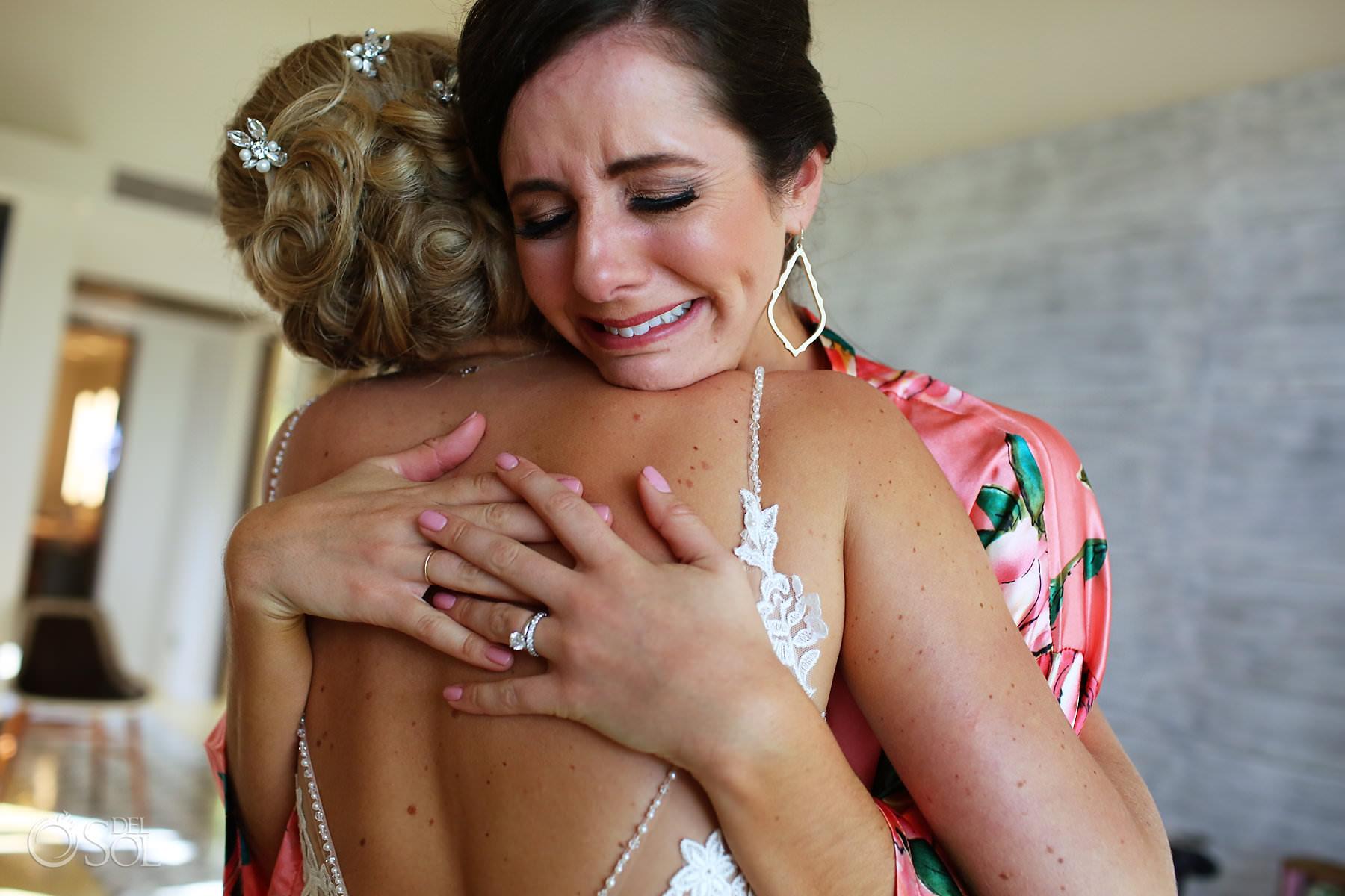 emotional hugging bride moment Andaz Mayakoba Wedding