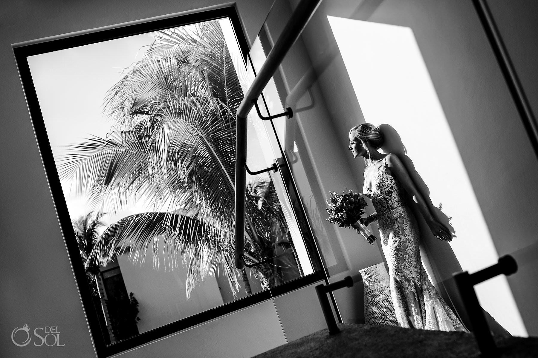 Andaz Mayakoba Wedding bride black and white portrait