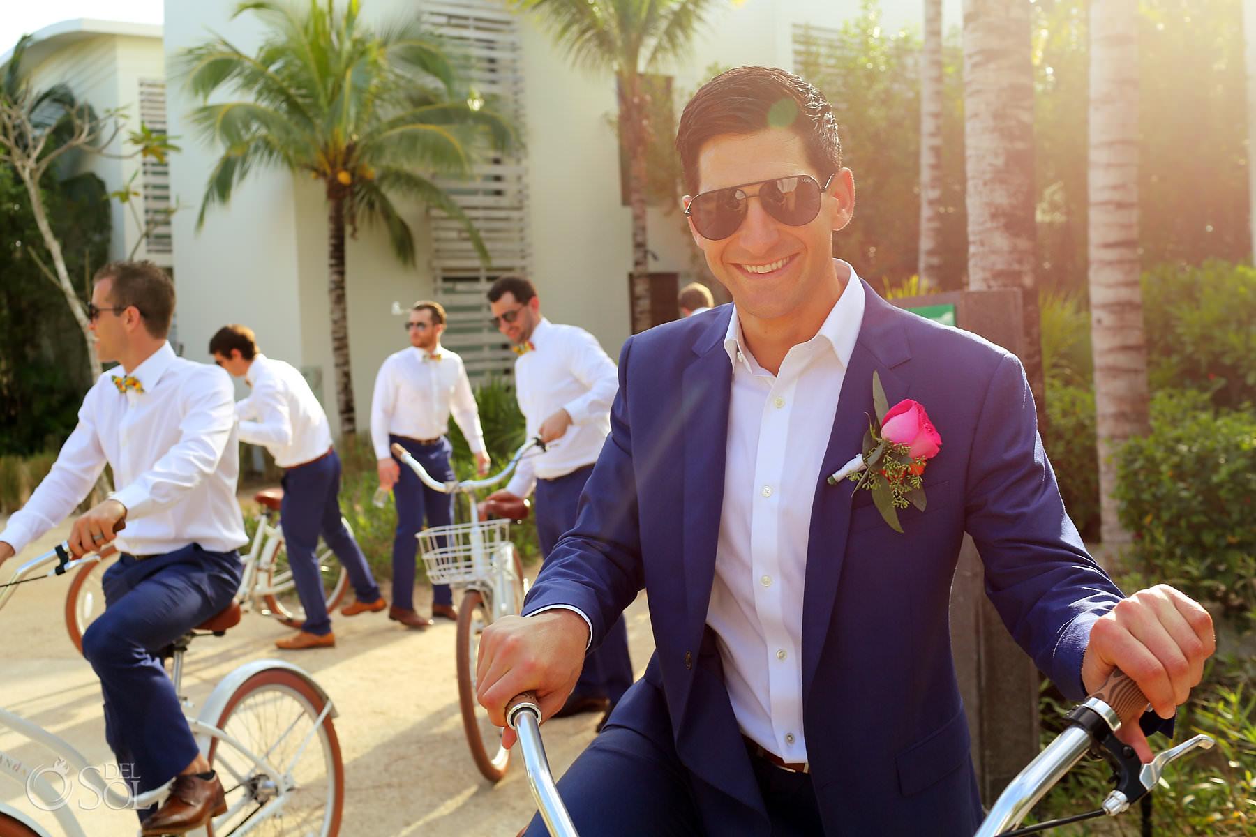 Andaz Mayakoba Wedding groom riding bike portrait