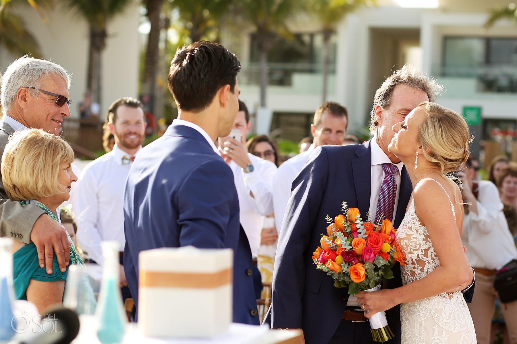 Andaz Mayakoba Wedding ceremony kiss