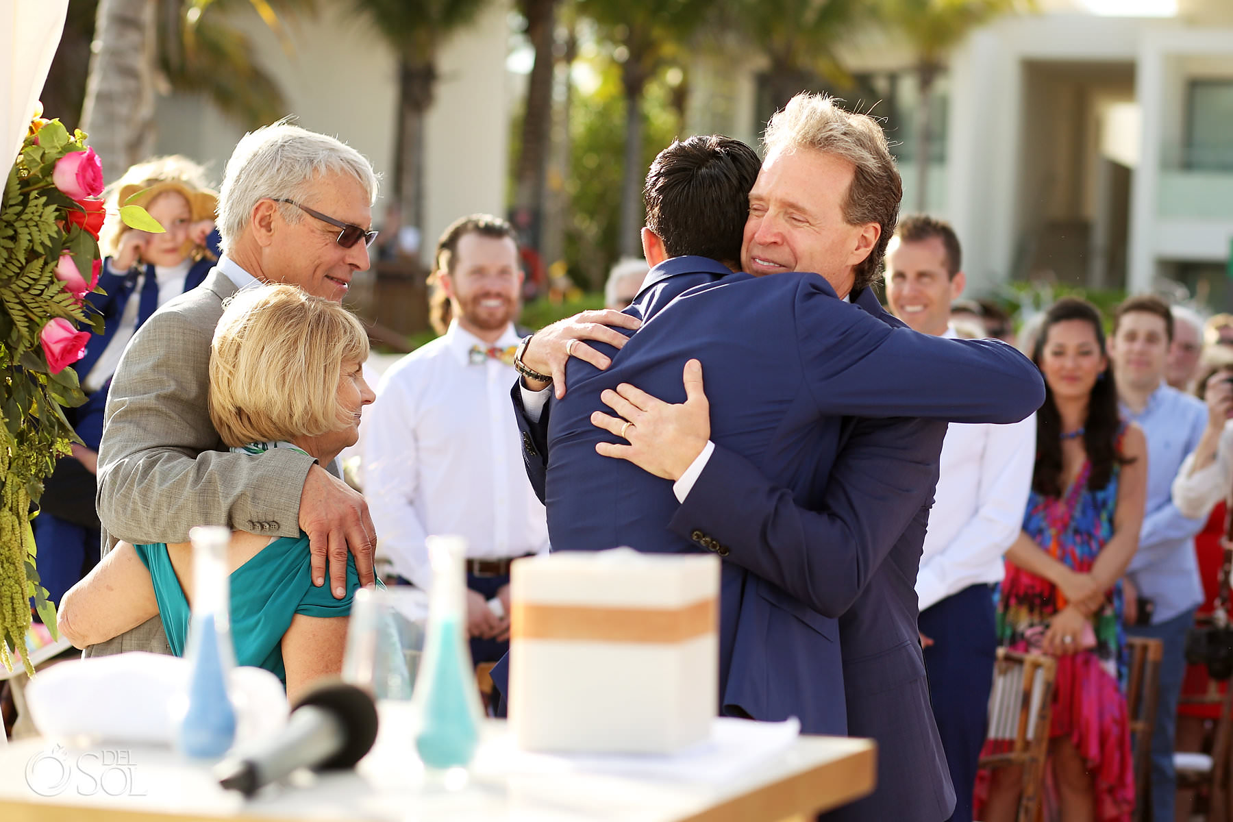 Andaz Mayakoba Wedding ceremony hugs