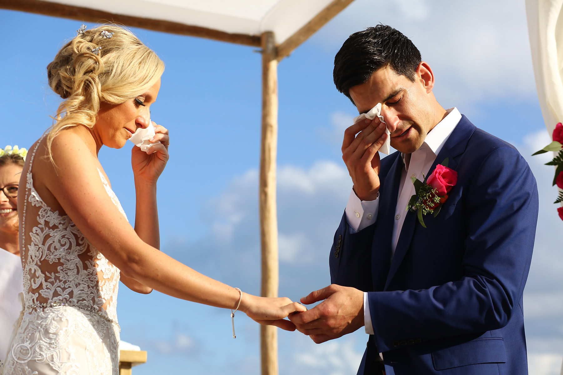 Andaz Mayakoba Wedding ceremony bride and groom crying