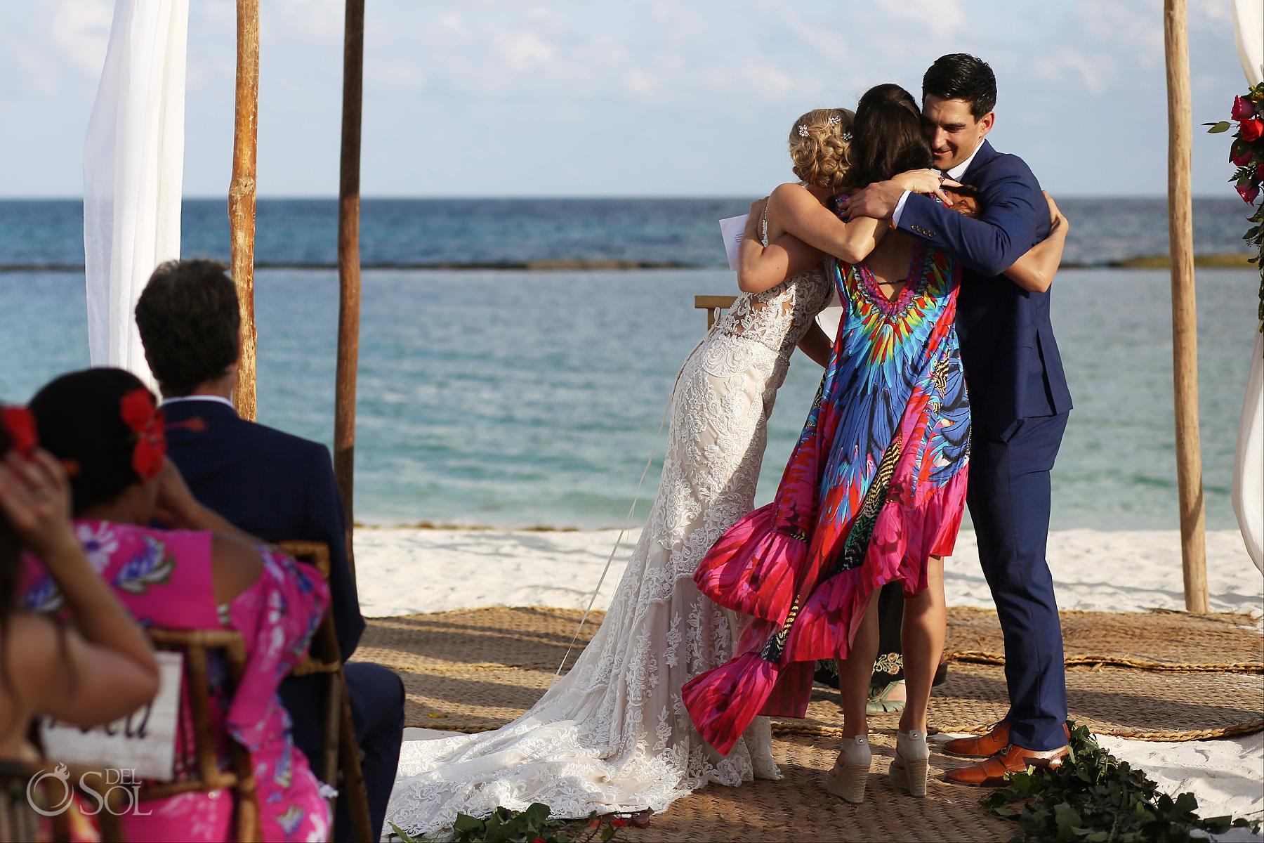 Andaz Mayakoba Wedding ceremony hugs