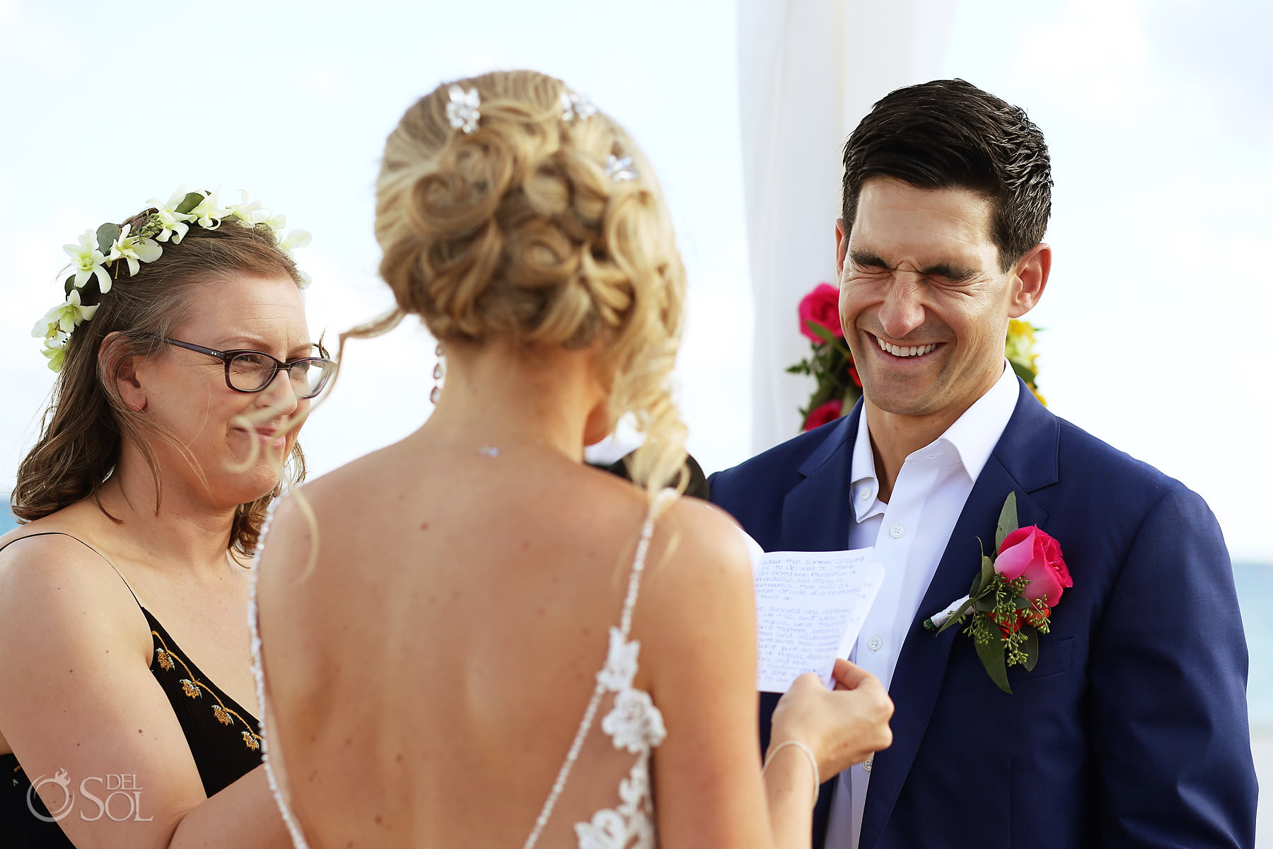 Andaz Mayakoba Wedding ceremony groom laughing