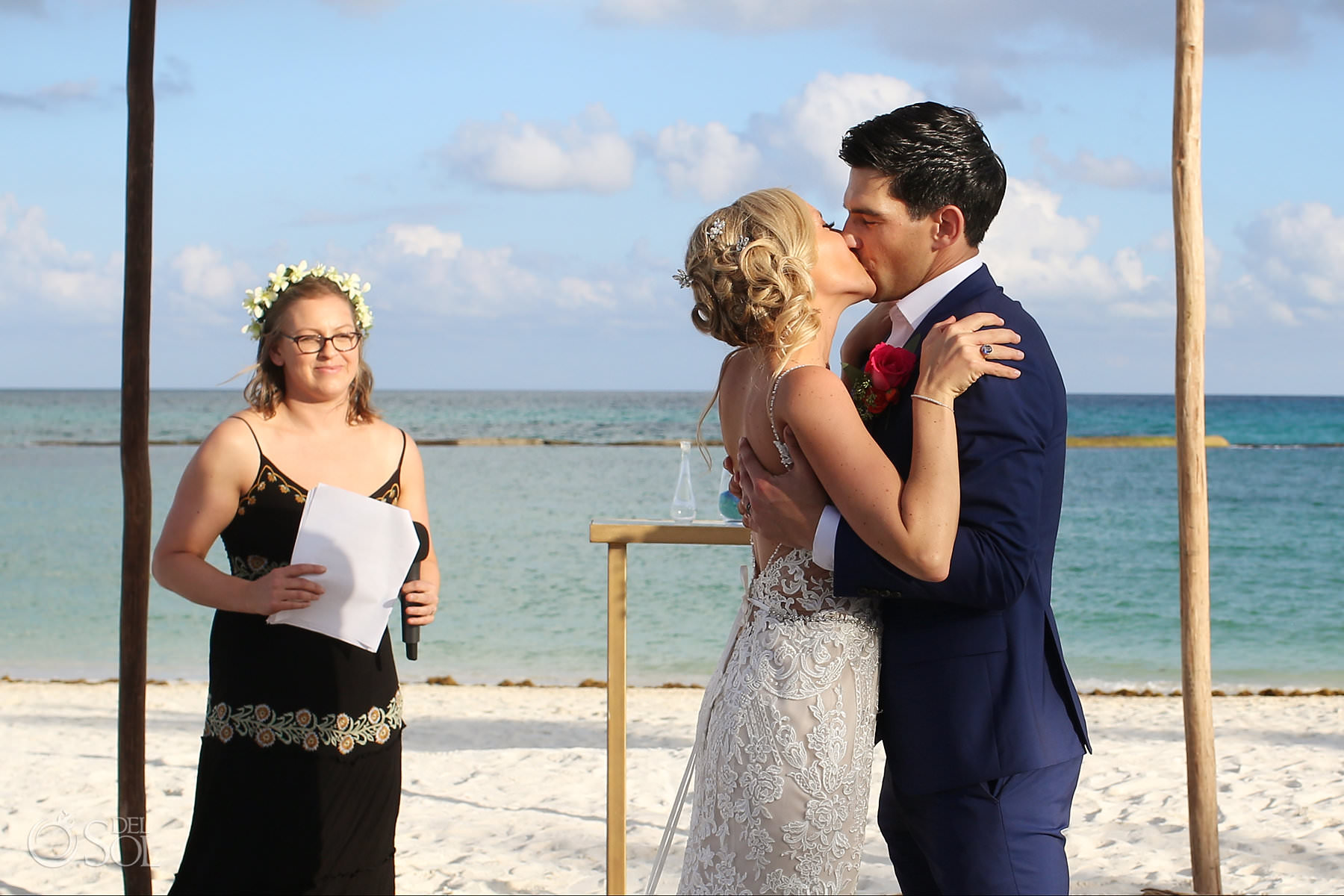 First kiss Andaz Mayakoba Wedding ceremony on the beach