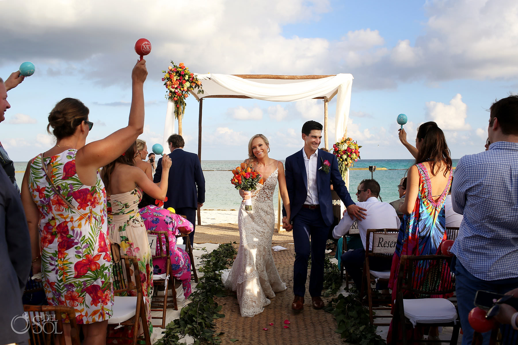 Andaz Mayakoba Wedding ceremony newly weds walking out