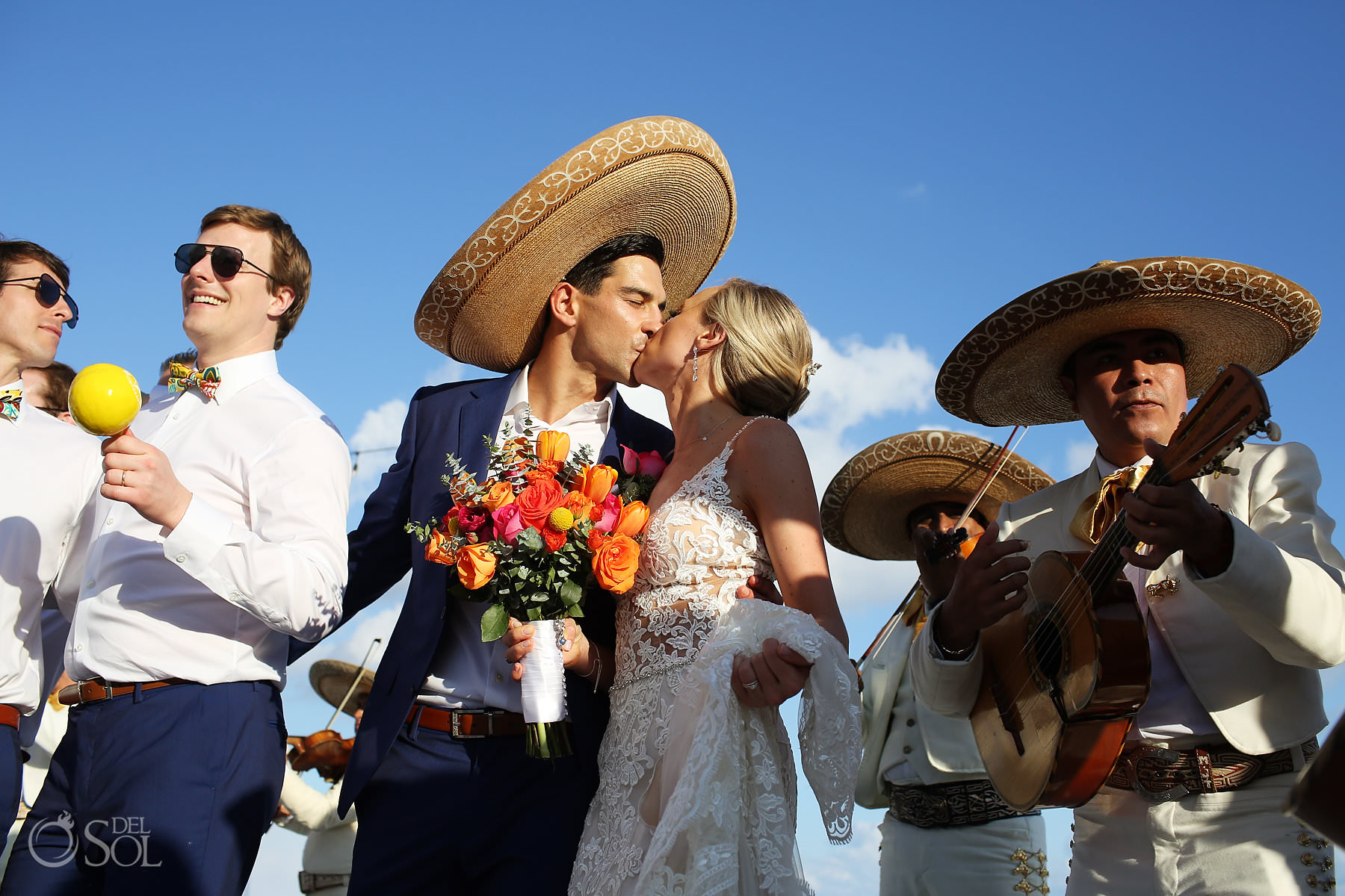 Andaz Mayakoba Wedding Mexican mariachi first kiss