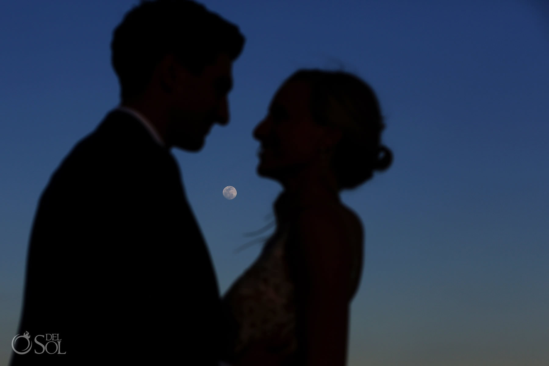 Beautiful bride and groom full moon Andaz Mayakoba Wedding