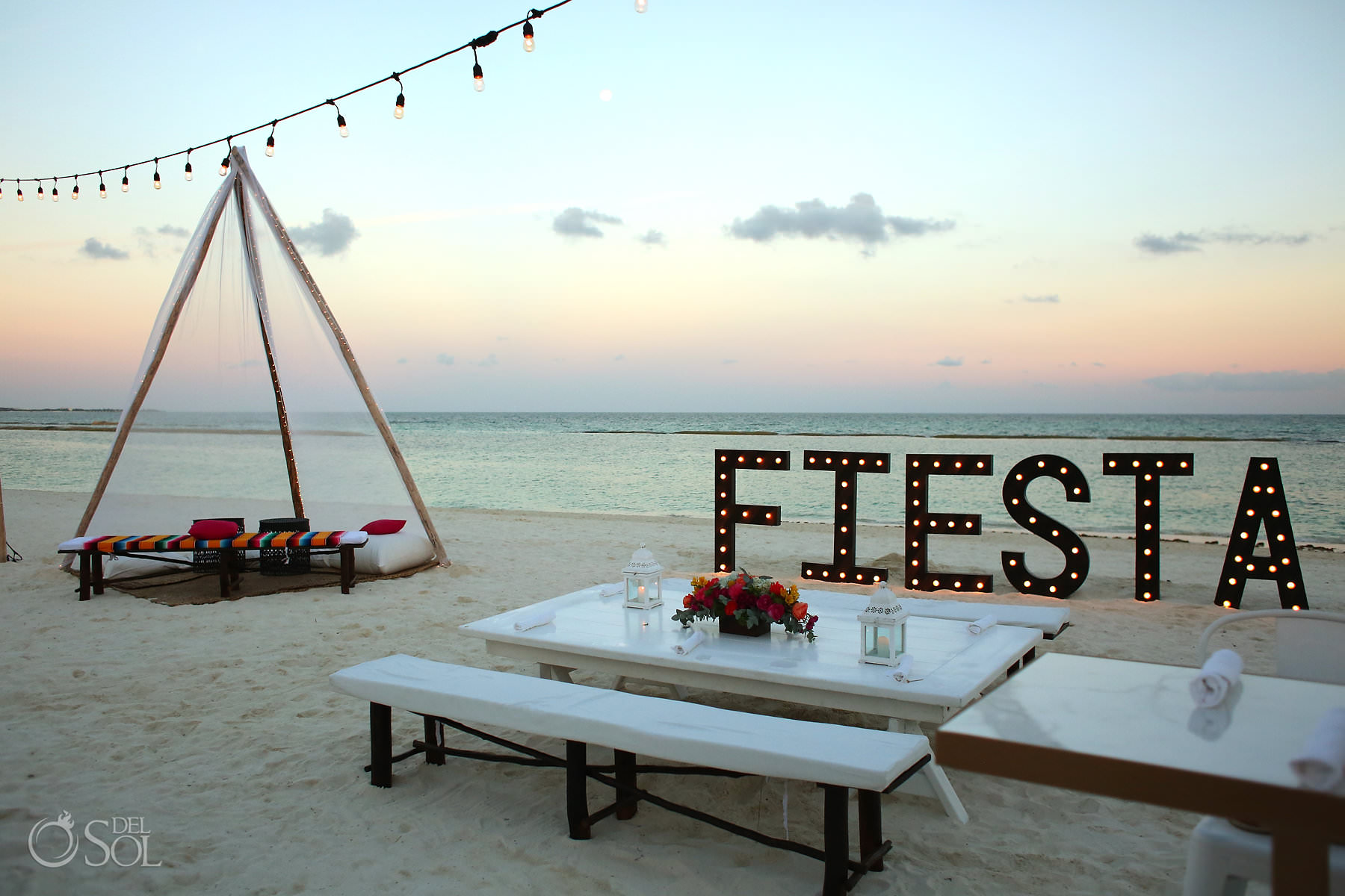 Andaz Mayakoba Wedding beach decoration Fiesta sign