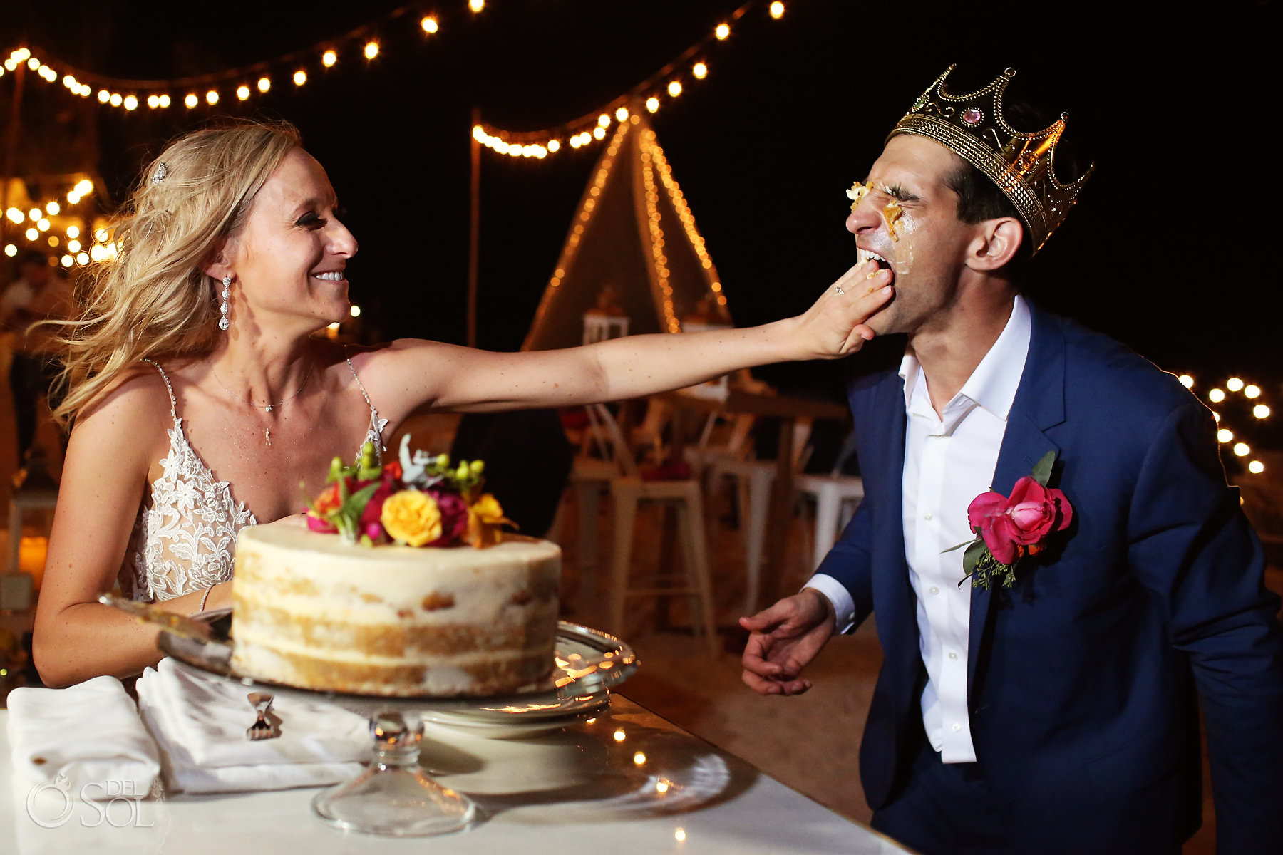 Andaz Mayakoba Wedding bride and groom smash the cake