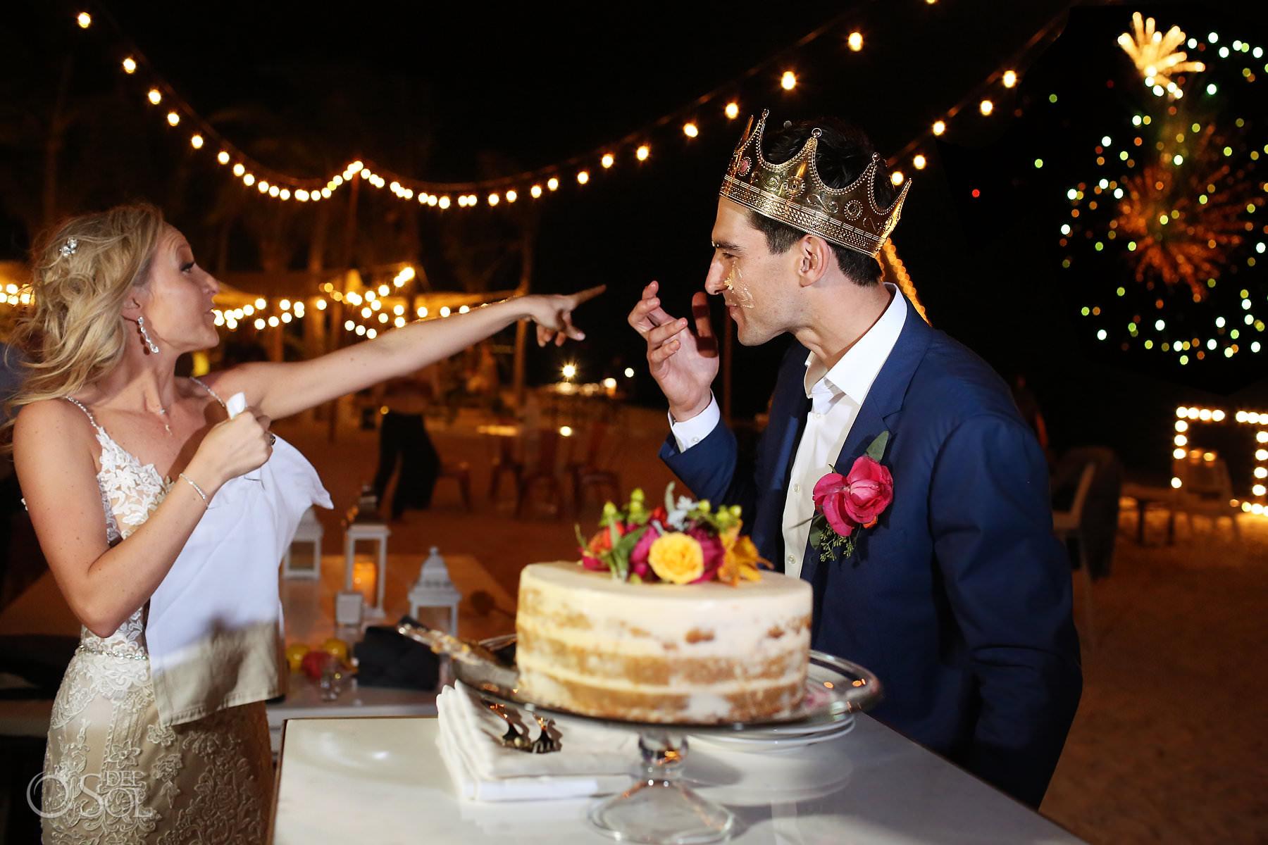 Andaz Mayakoba Wedding fireworks cake reception