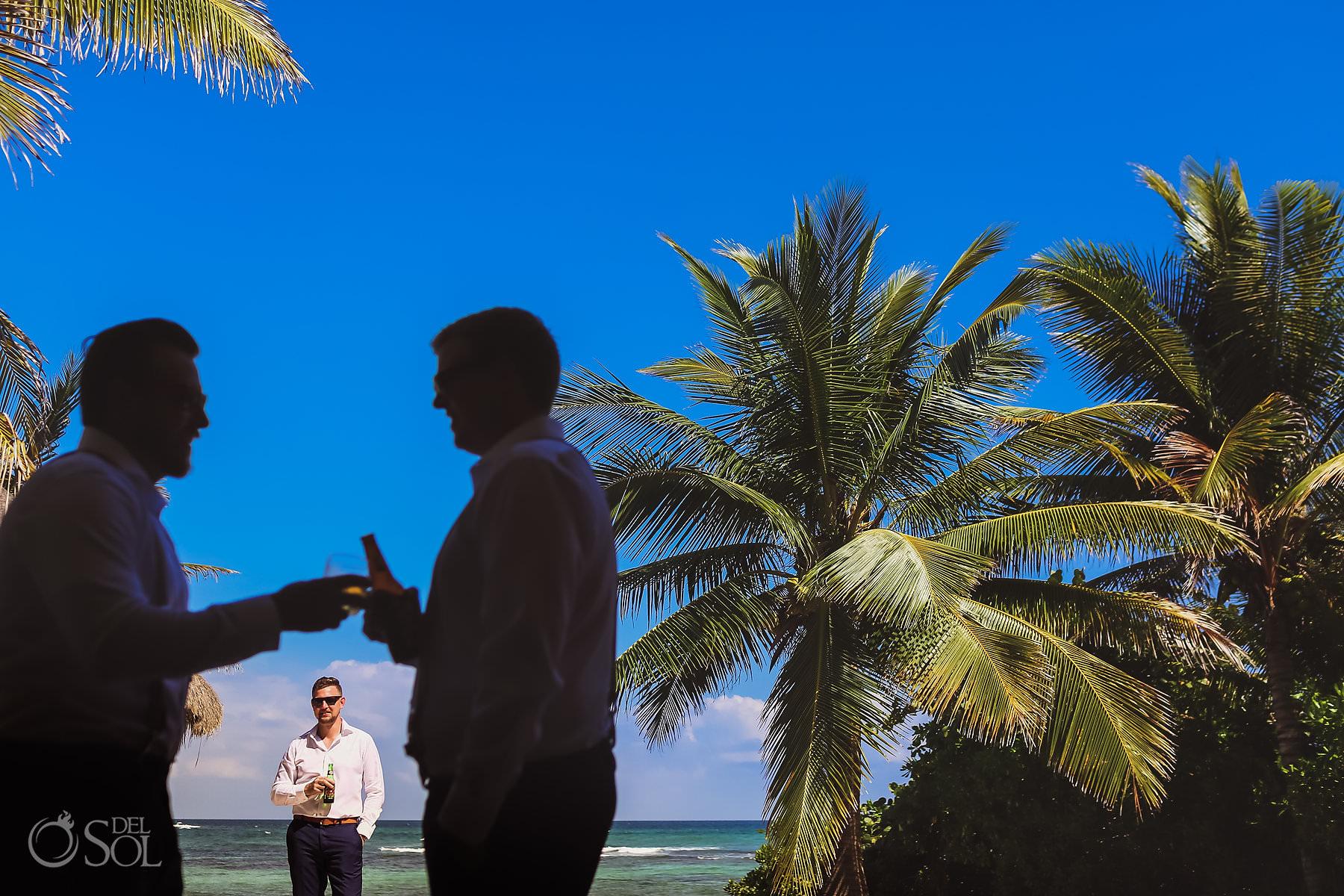 Groom in Akumal Mexico destination Wedding