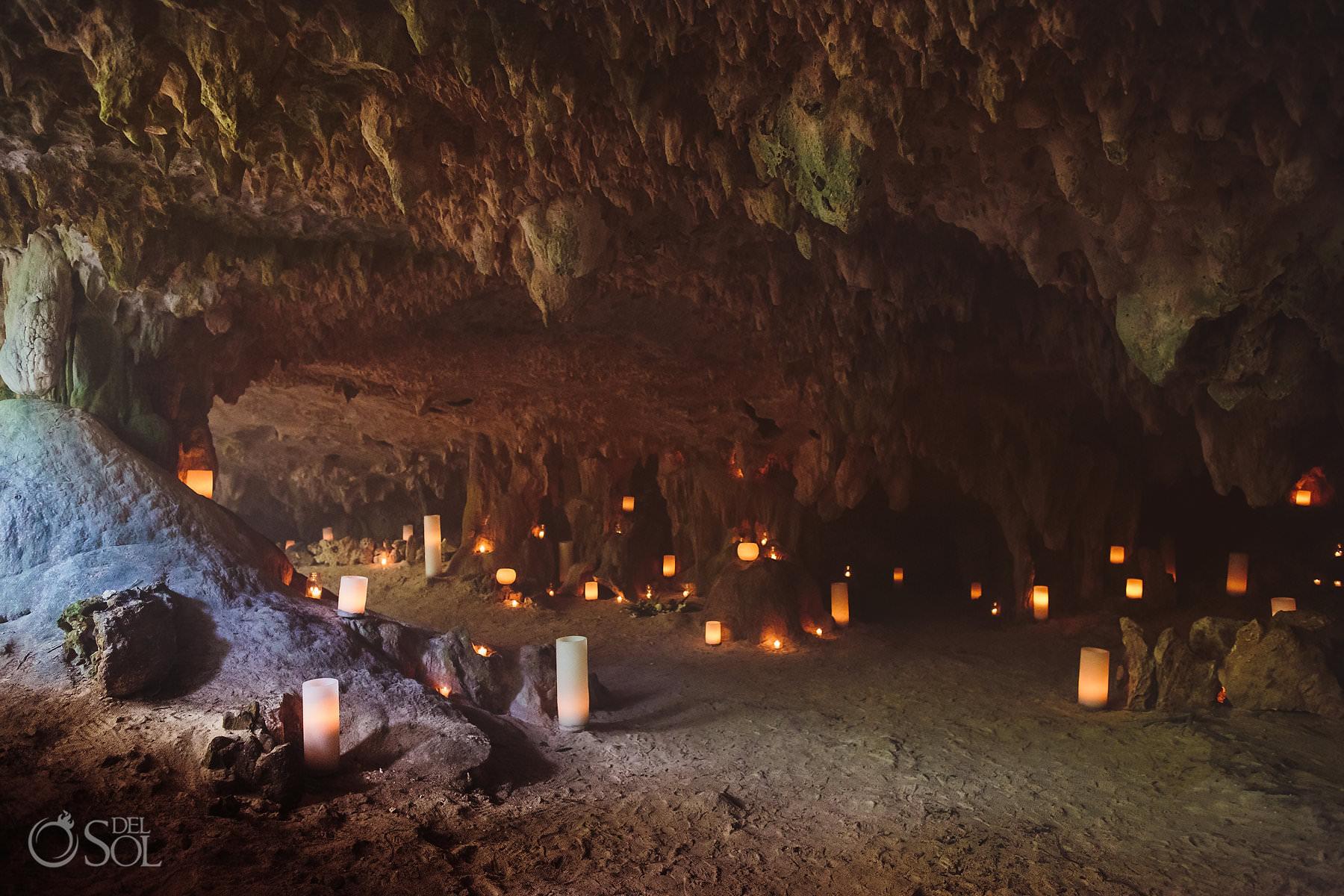 underground wedding decoration with candle design