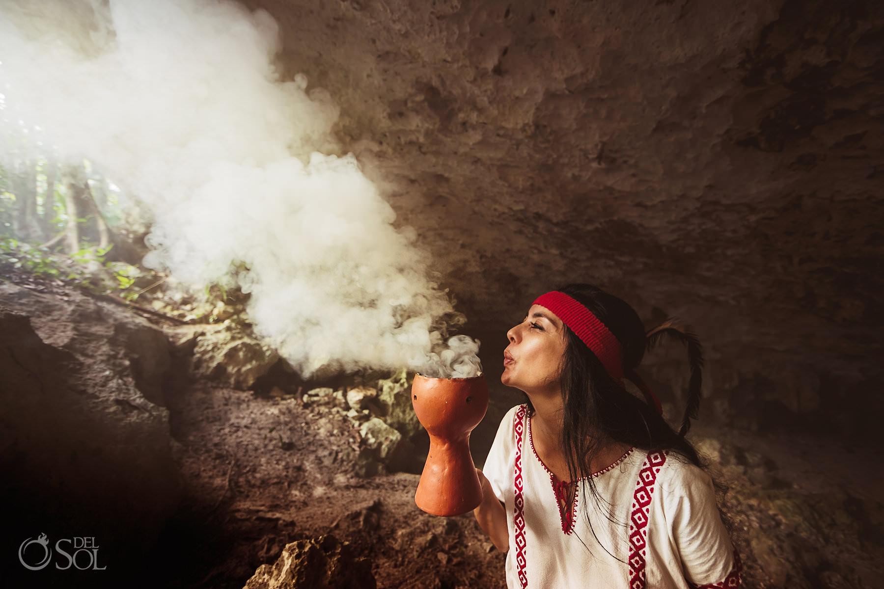 Shaman copal smoke Cave Wedding Photography