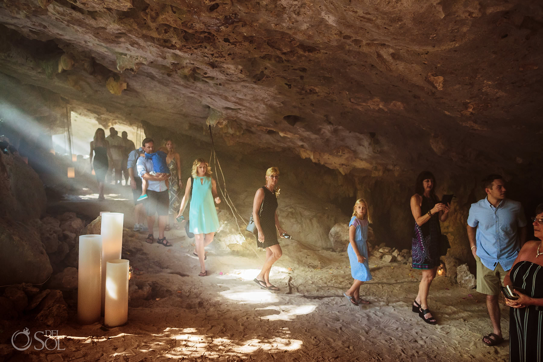 Guests walking underground Cave Wedding Photography