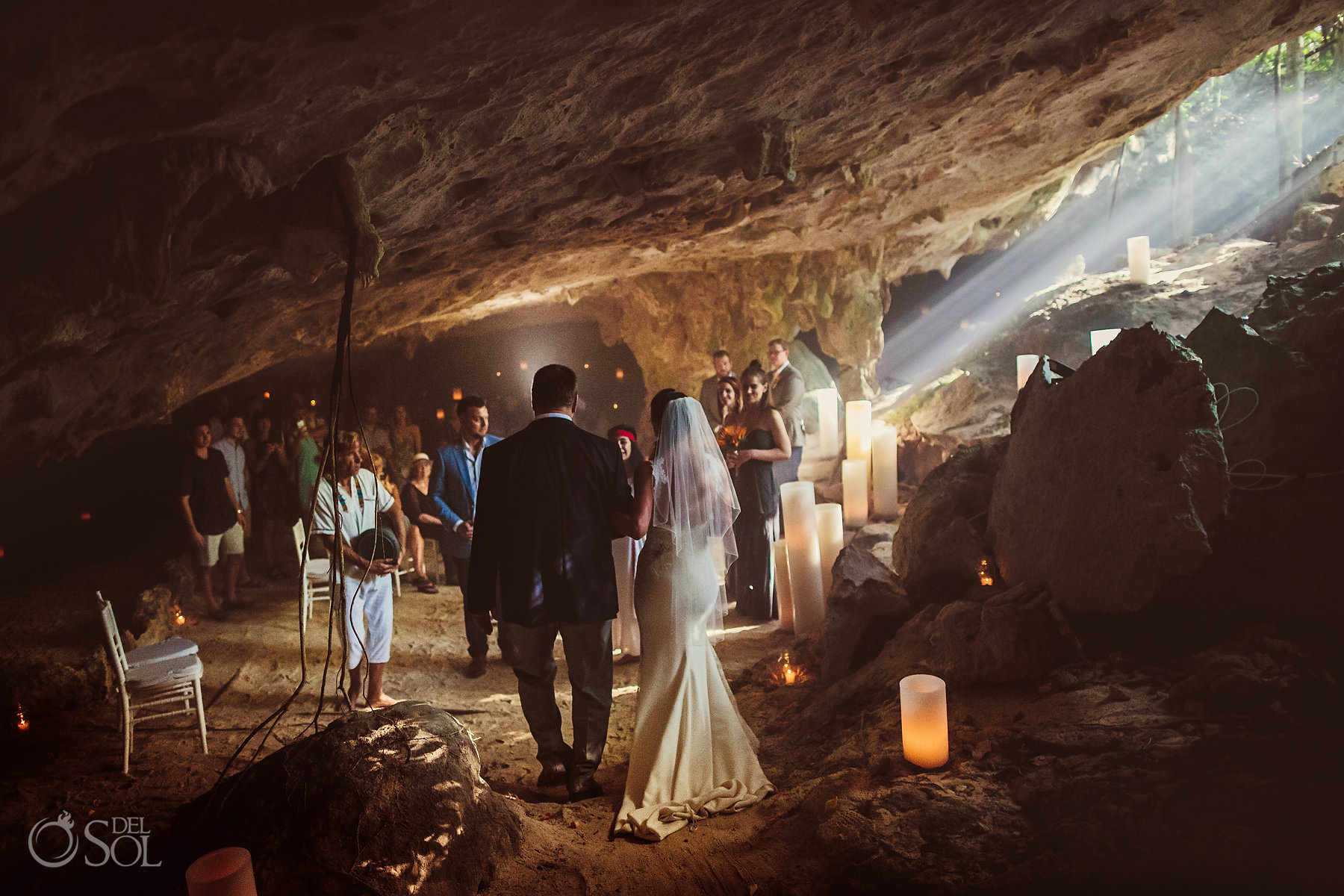 Underground Cave Wedding Photo Bride with father