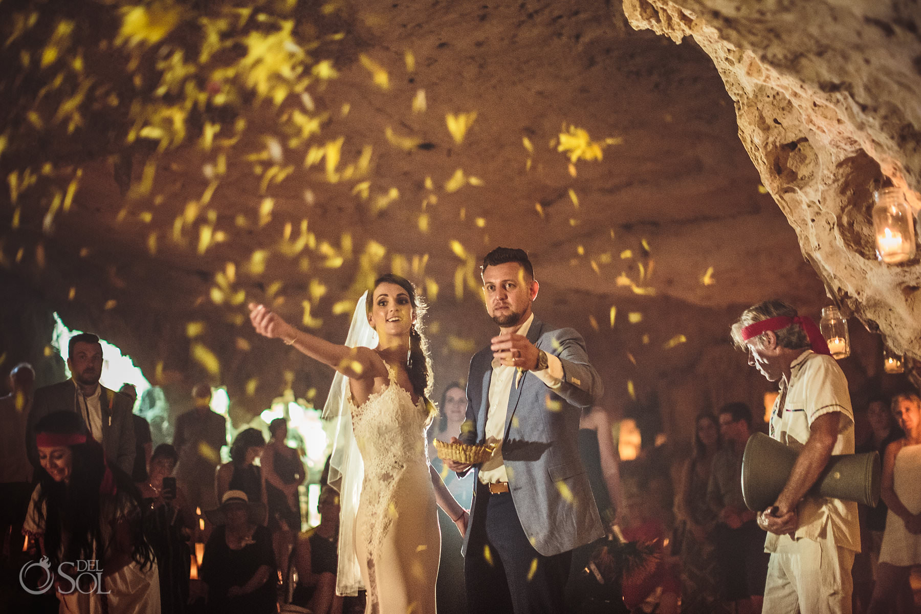 Cave Wedding Photography flower ceremony