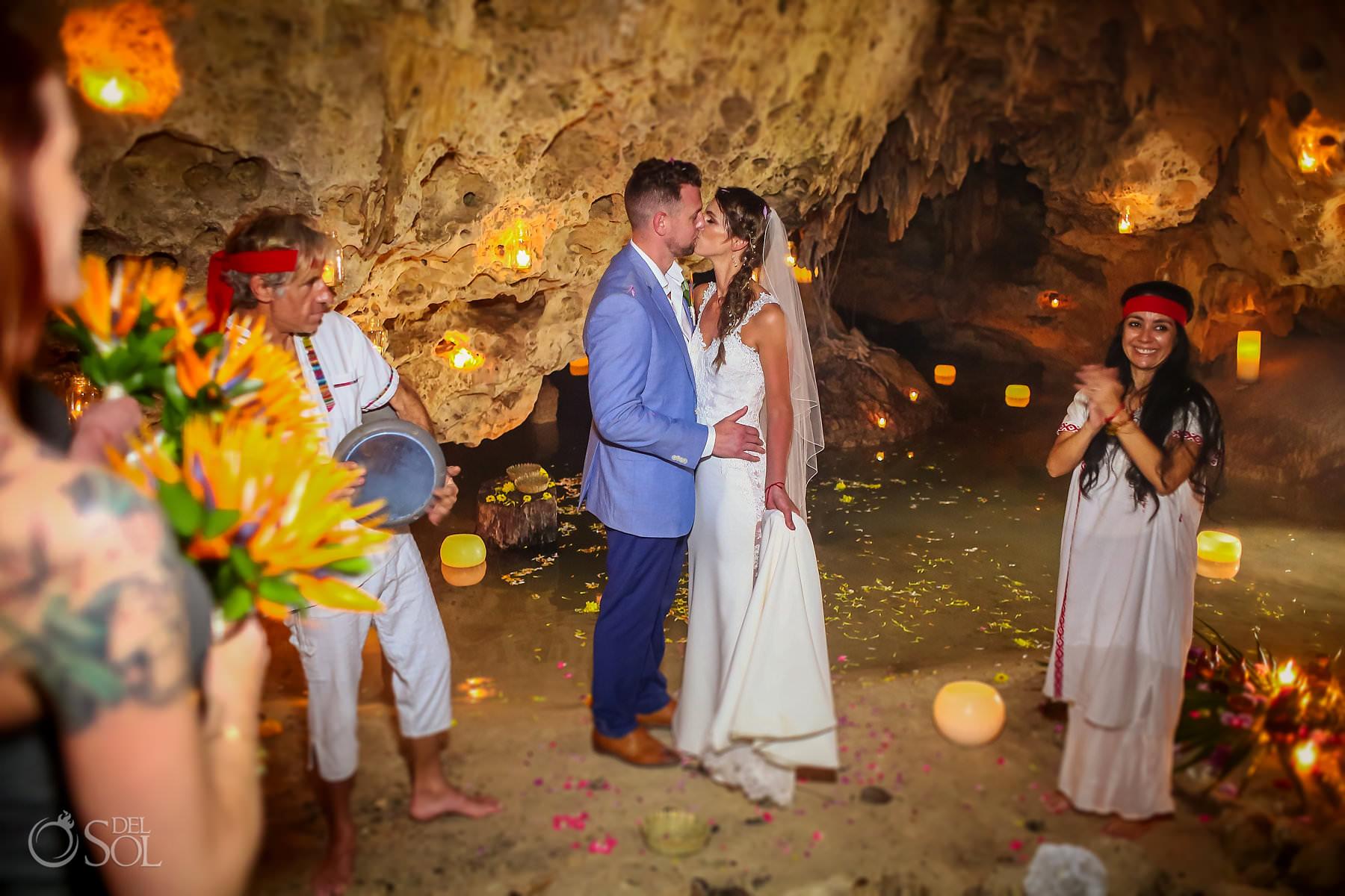 first kiss Cave Wedding