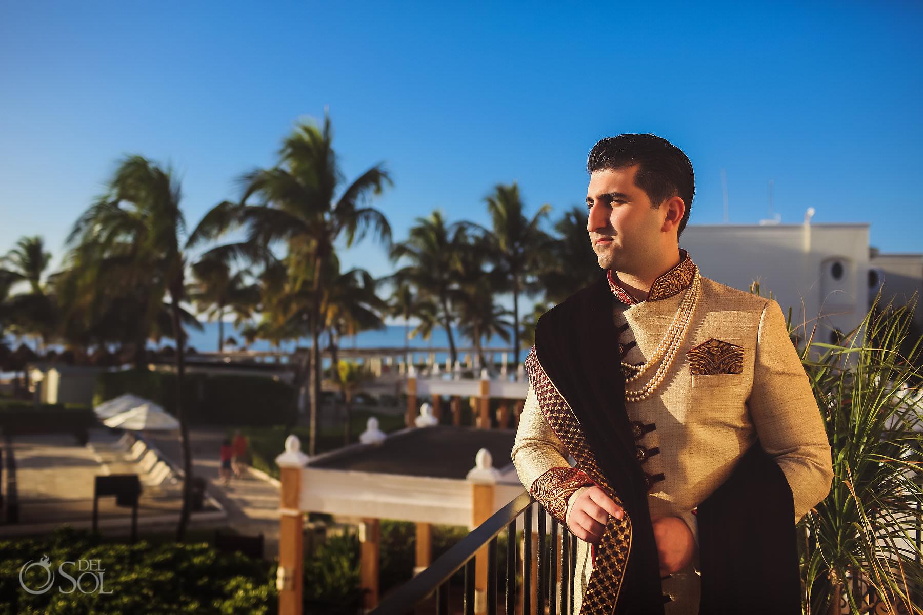Indian Groom outfit golden Kurta Dreams Tulum South Asian Wedding