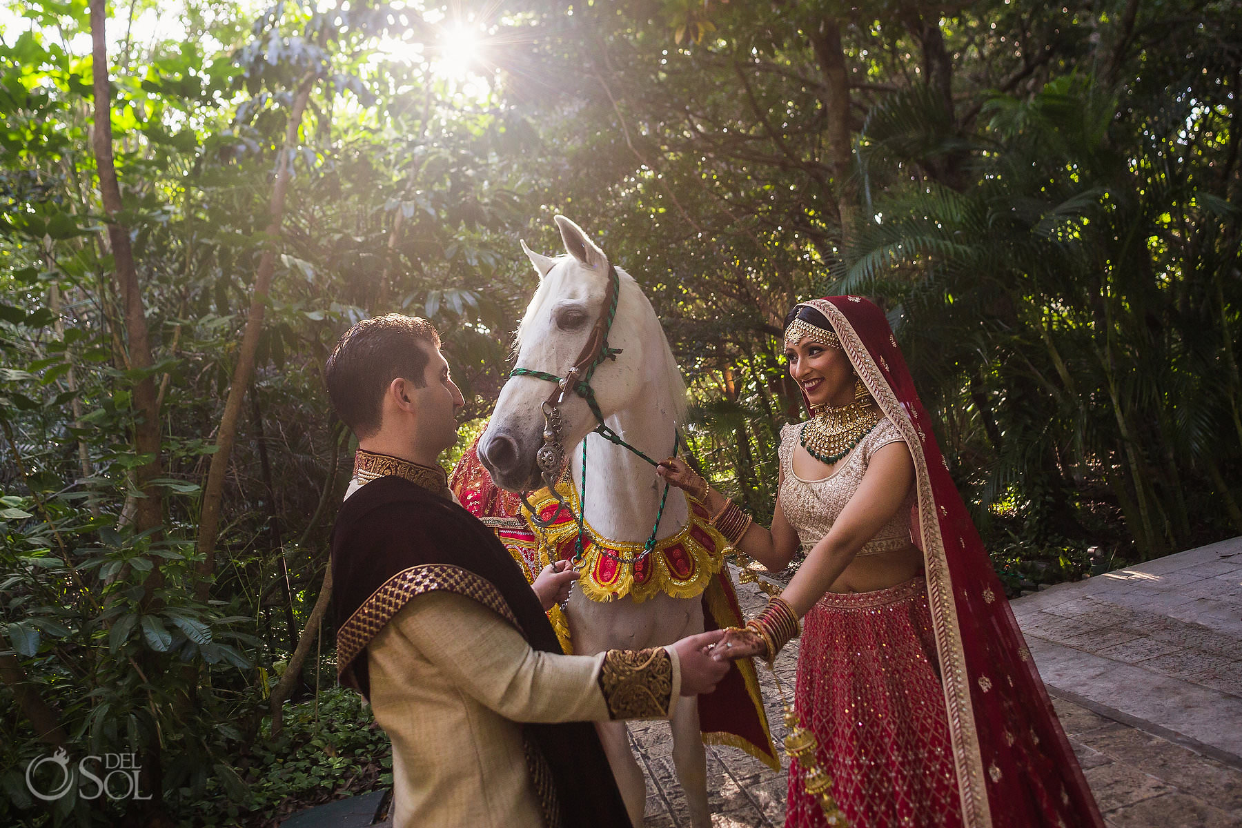 Mexico South Asian Wedding first look Baarat white Horse Dreams Tulum Riviera Maya Mexico
