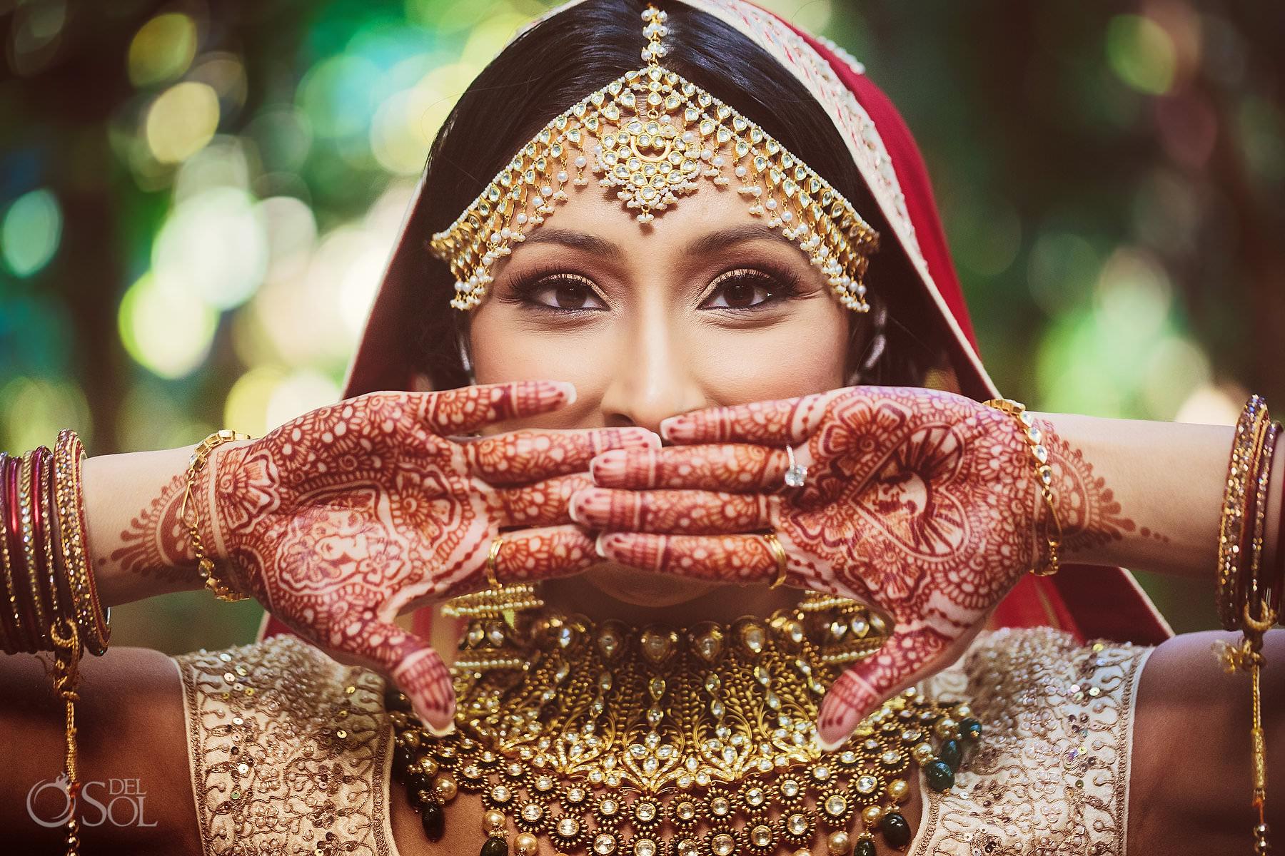 South Asian bride portrait showing Mehendi Dreams Tulum Riviera Maya Mexico