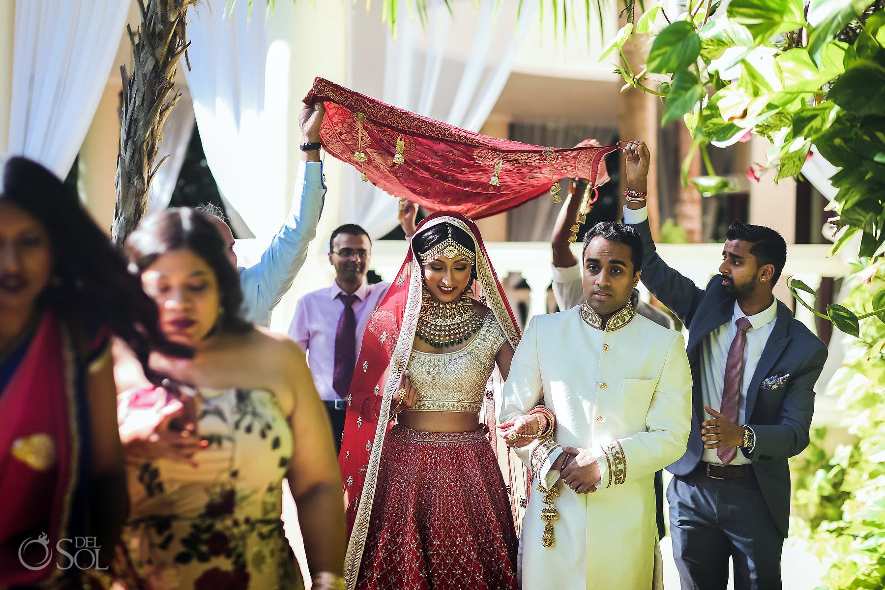 Bride entrance Mexico South Asian Wedding Dreams Tulum Riviera Maya
