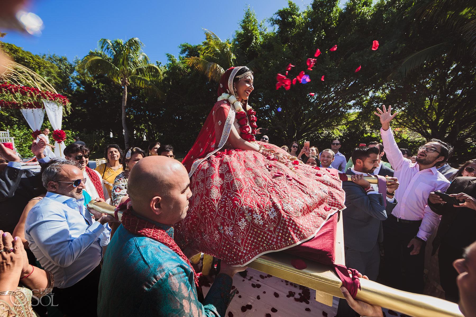 Mexico South Asian Wedding Bride exit Dreams Tulum Hindu Garden ceremony