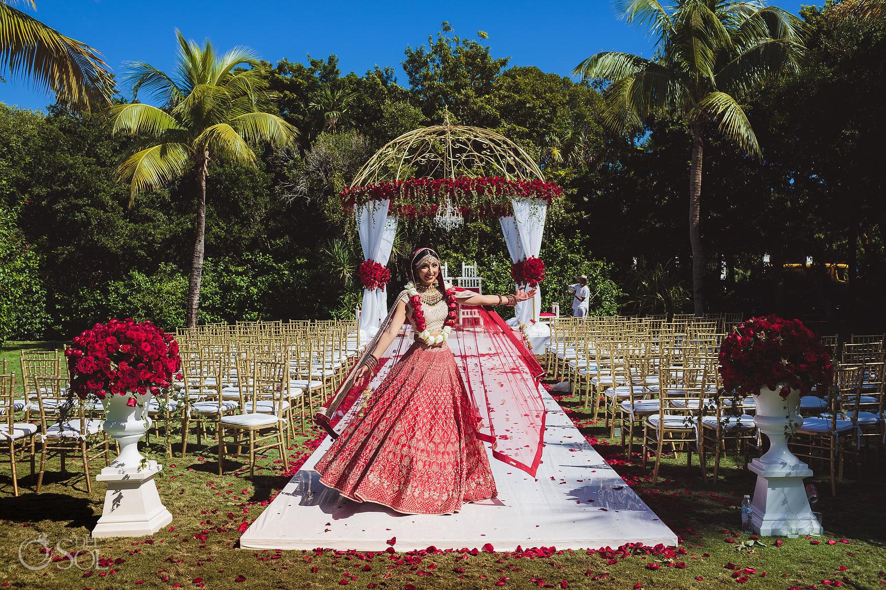 Hindu ceremony set up gold red Mandap Mexico South Asian Wedding Dreams Tulum Riviera Maya