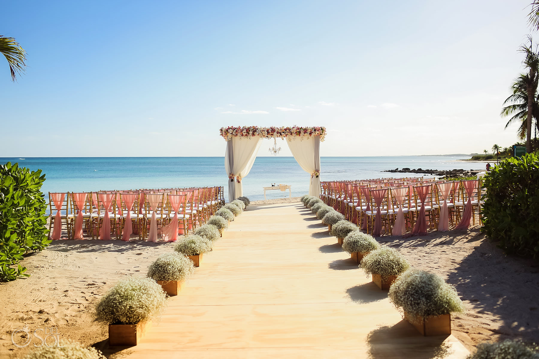 Dreams Tulum Wedding Ceremony setup decor