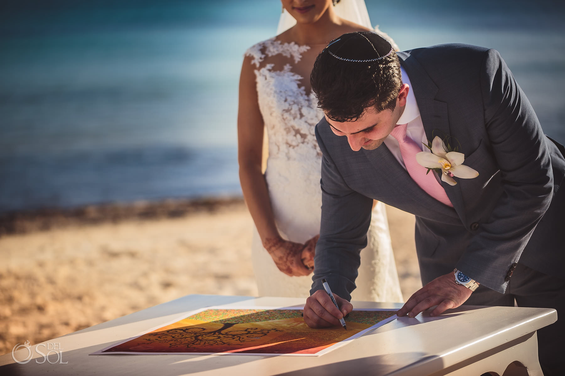 Dreams Tulum Jewish Wedding ceremony ketubah signing