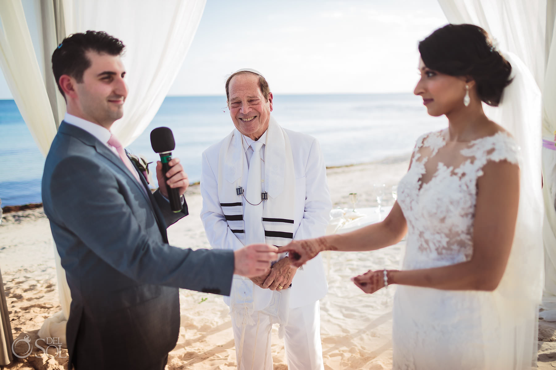 Rabbi Hin Jew wedding ring exchange in Tulum Mexico