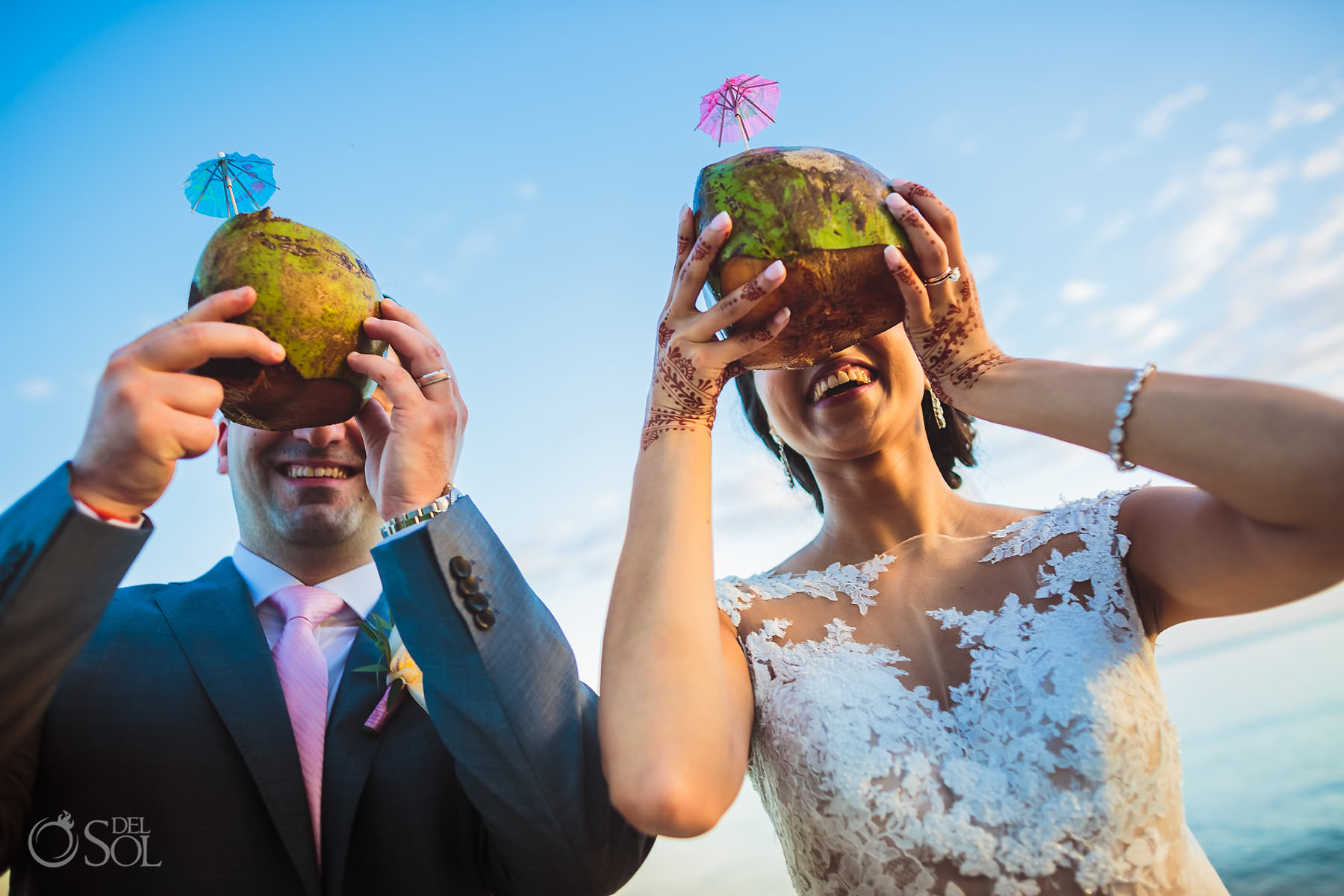 coconut drink fun photo idea Dreams Tulum Jewish Wedding