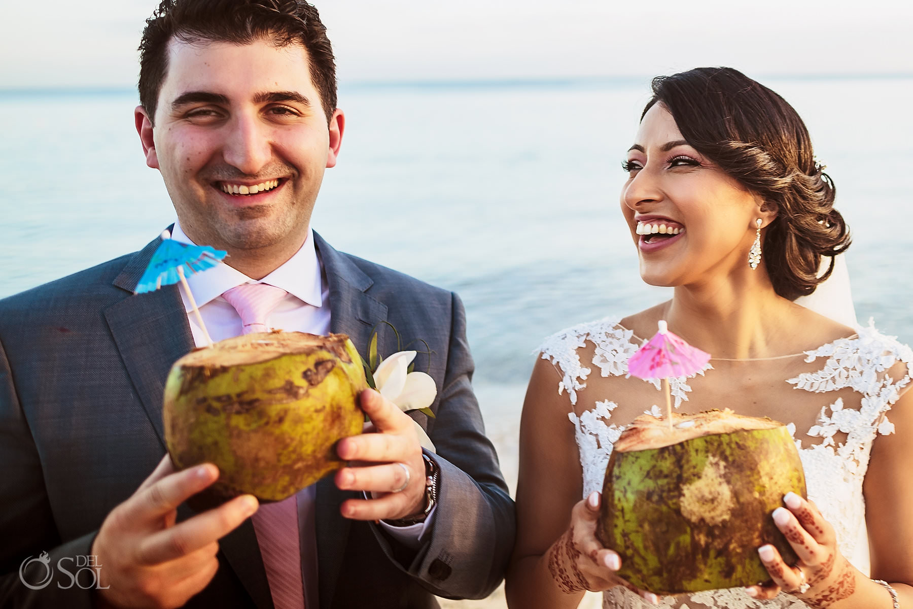 coconut drink fun photo idea Tulum Jewish Wedding
