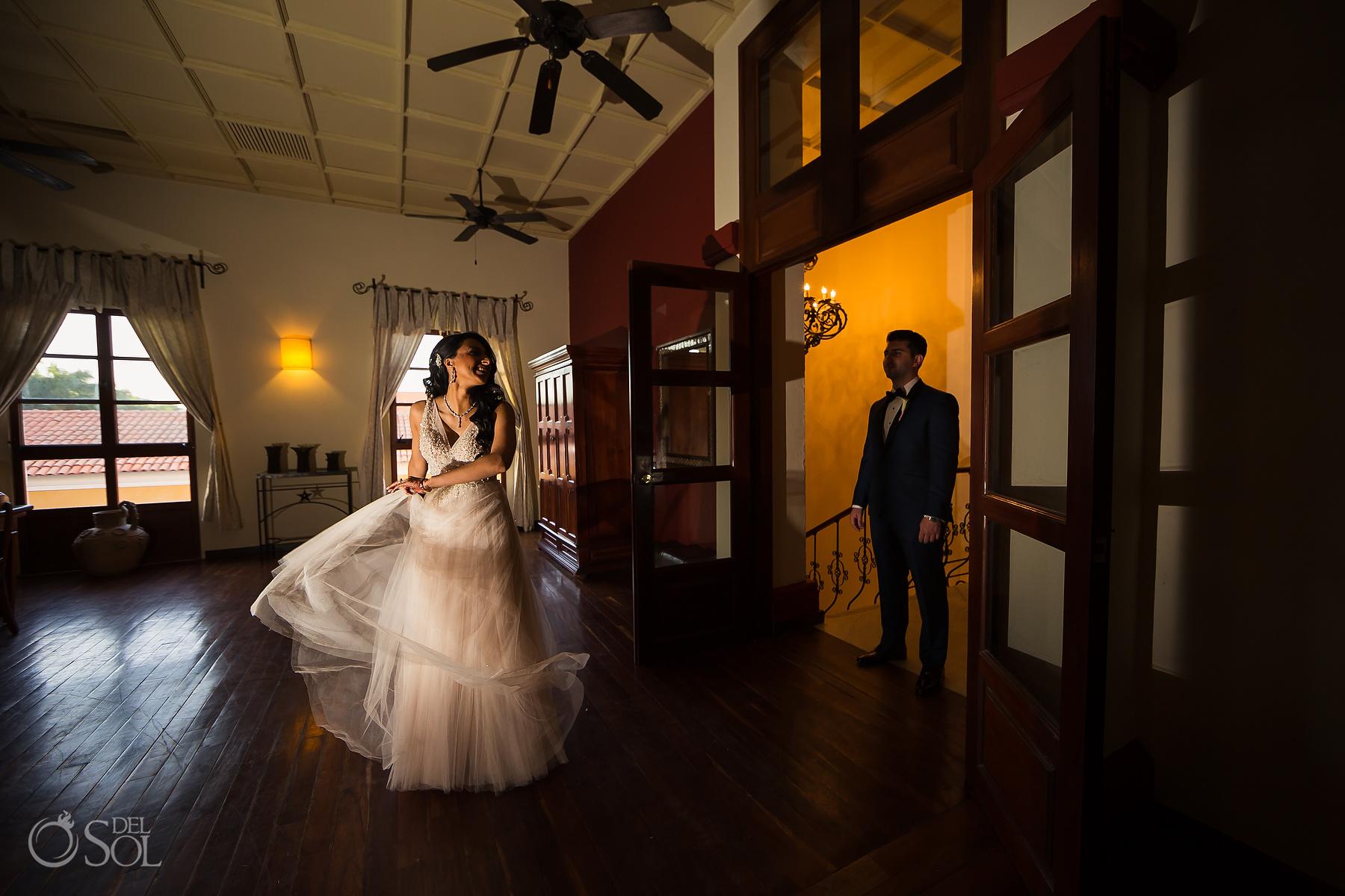 Getting Ready Bride and Groom Suite Dreams Tulum Jewish Wedding Reception