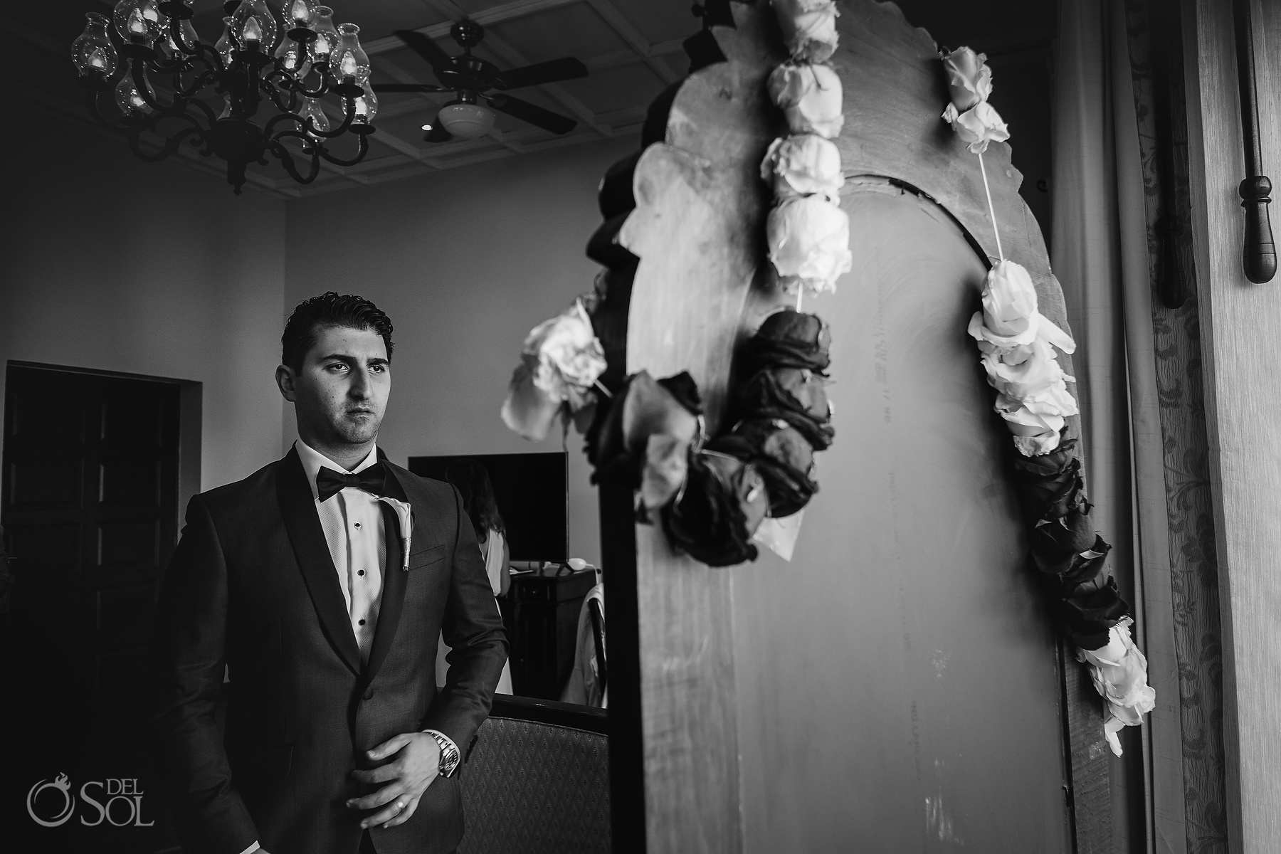 Getting Ready Black and White Groom Portrait Suite Dreams Tulum Jewish Wedding Reception