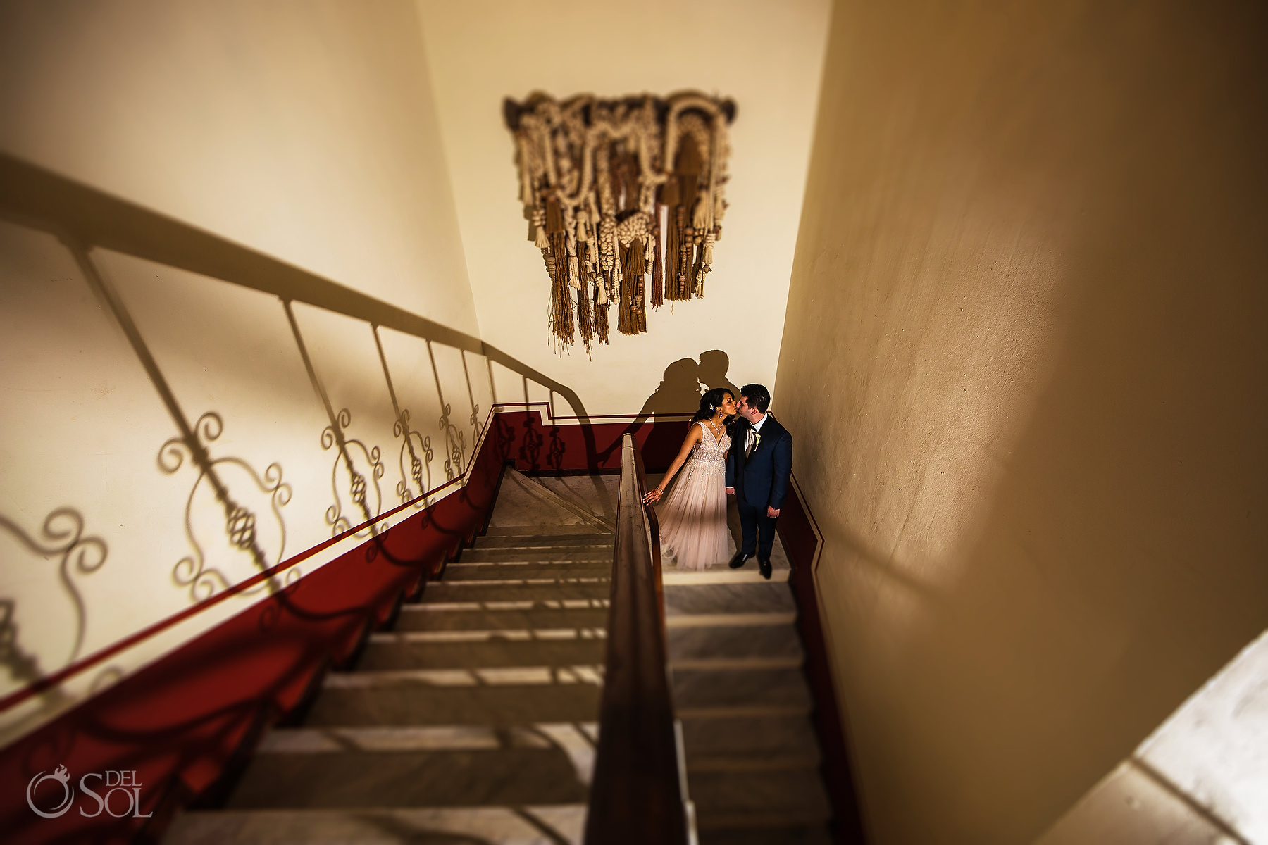Epic Documentary Photography Groom and Bride Stairs Tulum Jewish Wedding Reception