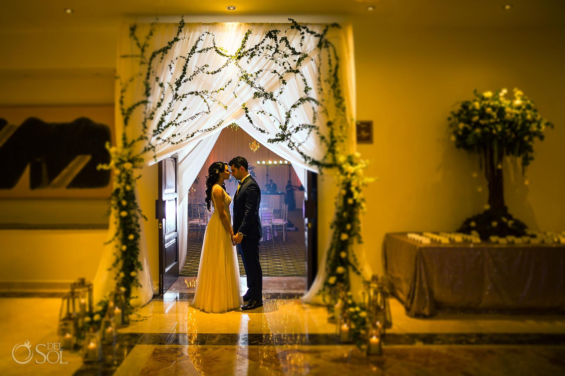 Bride and Groom Portrait Dreams Tulum Jewish Romantic Decoration Wedding Reception