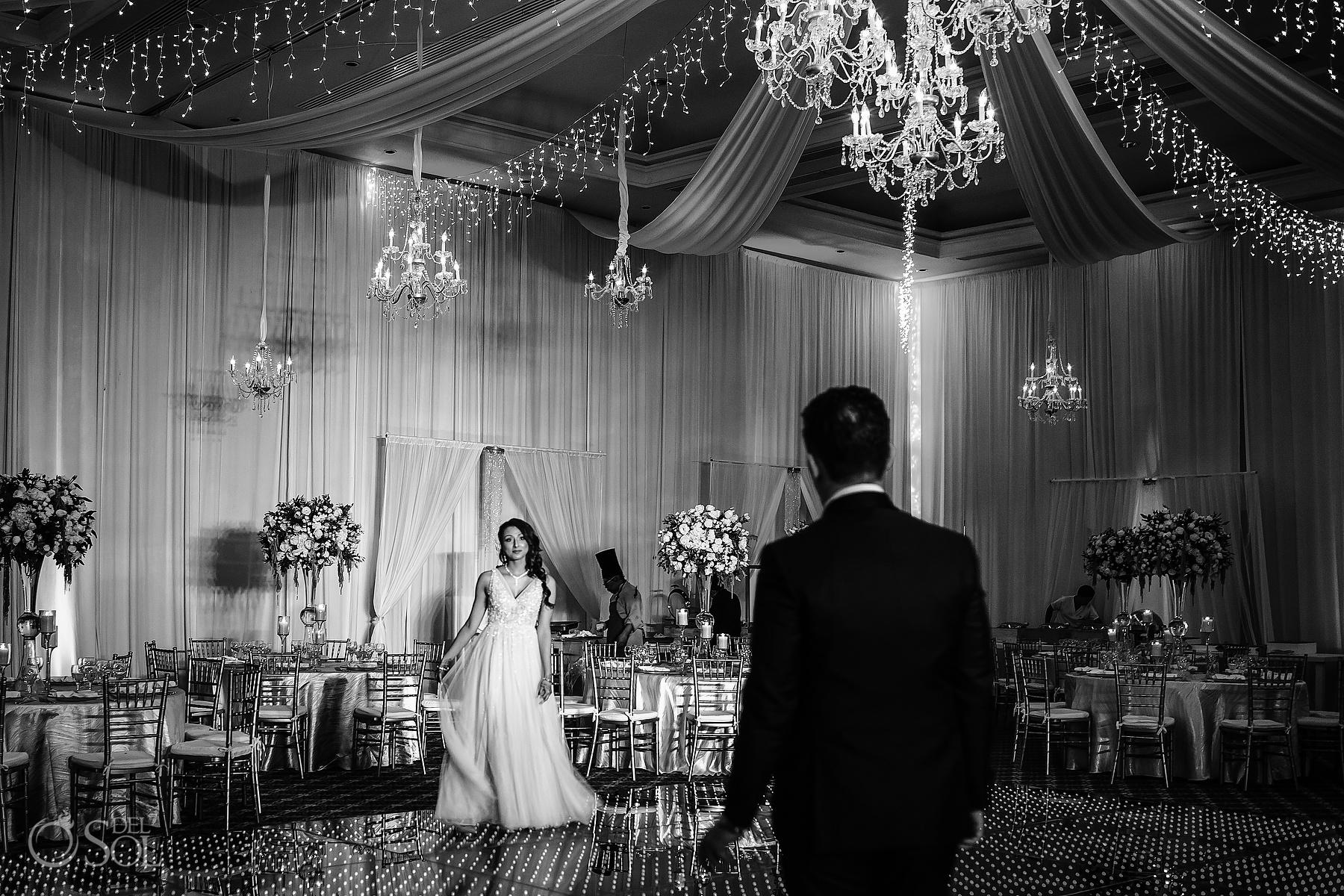 Dreams Tulum Ballroom reception bride and groom