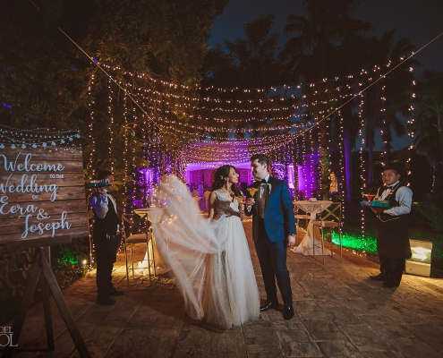 Warm decoration ideas Embroidered white tulle bridal dress Bride and Groom Portrait Dreams Tulum Jewish Wedding Reception