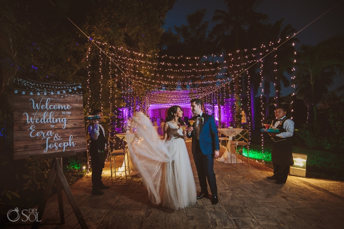 Warm decoration ideas Embroidered white tulle bridal dress Bride and Groom Portrait Dreams Tulum Jewish Wedding Reception