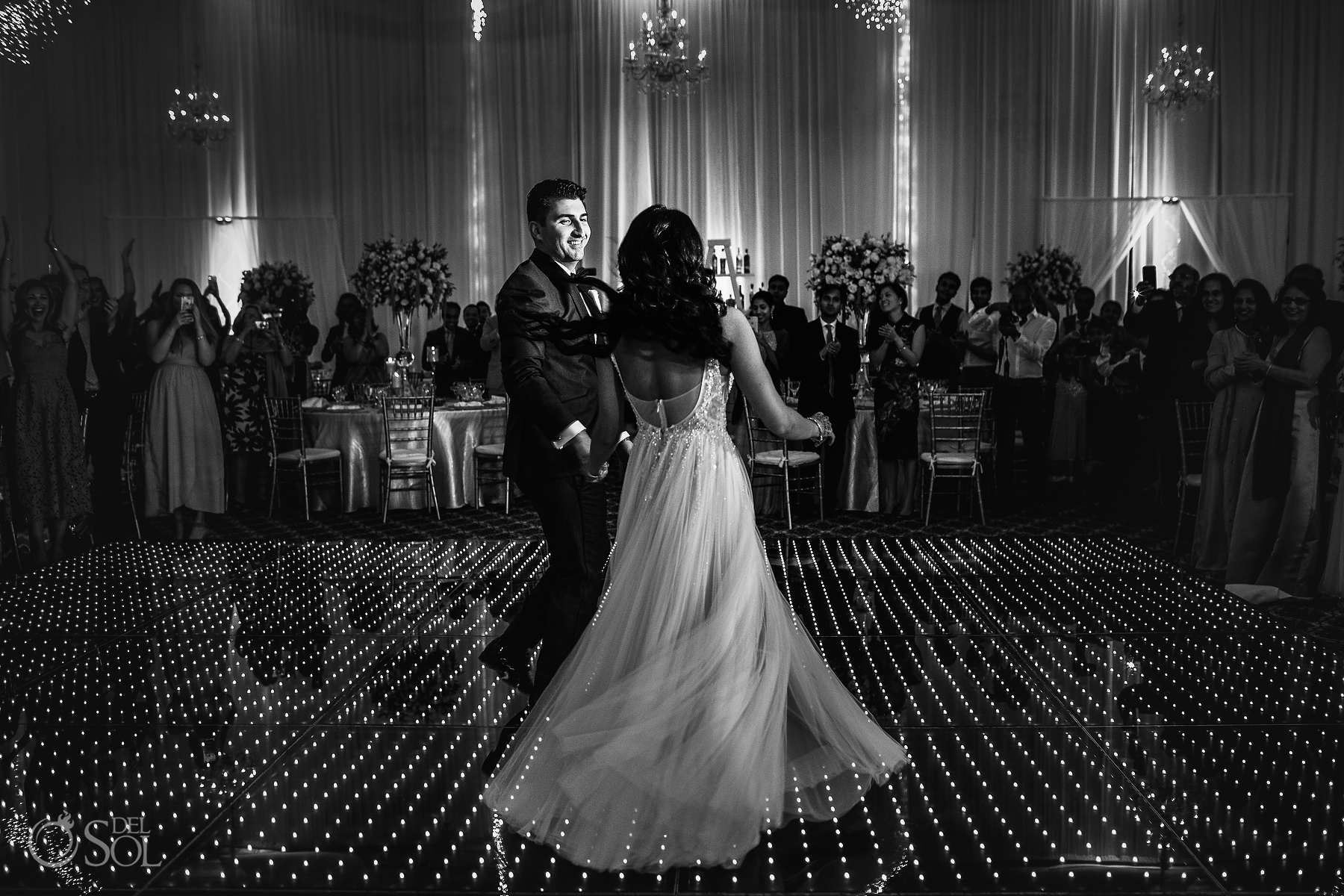 Black and White Bride and Groom First Dance Ballroom Tulum Jewish Wedding Reception