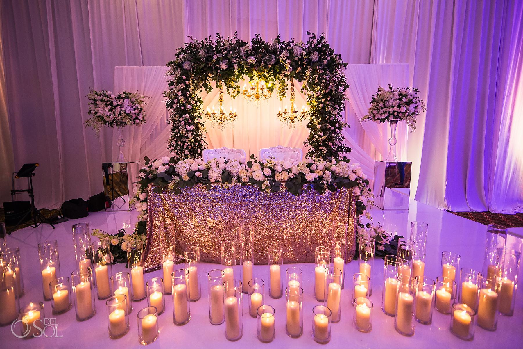 Beautiful candle design head table Dreams Tulum Jewish Wedding Reception